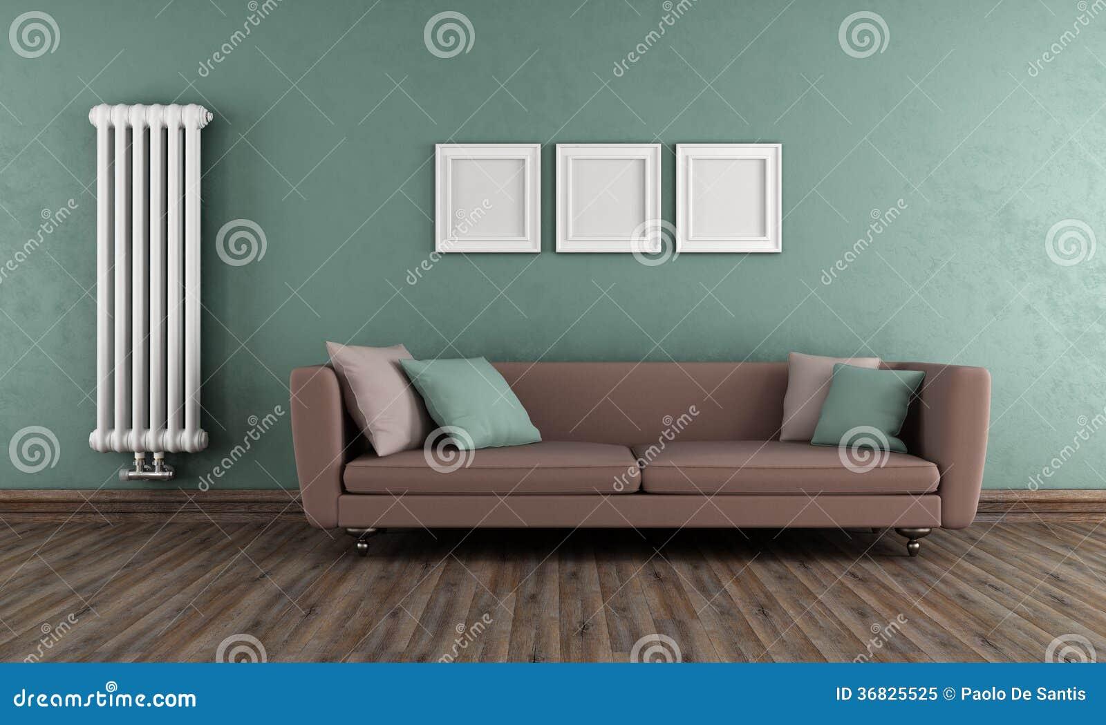 Sala de estar verde y marr n del vintage foto de archivo for Sala de estar marron
