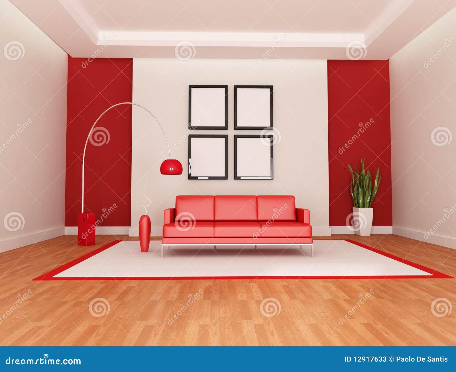 Sala De Estar Preta Branca E Vermelha