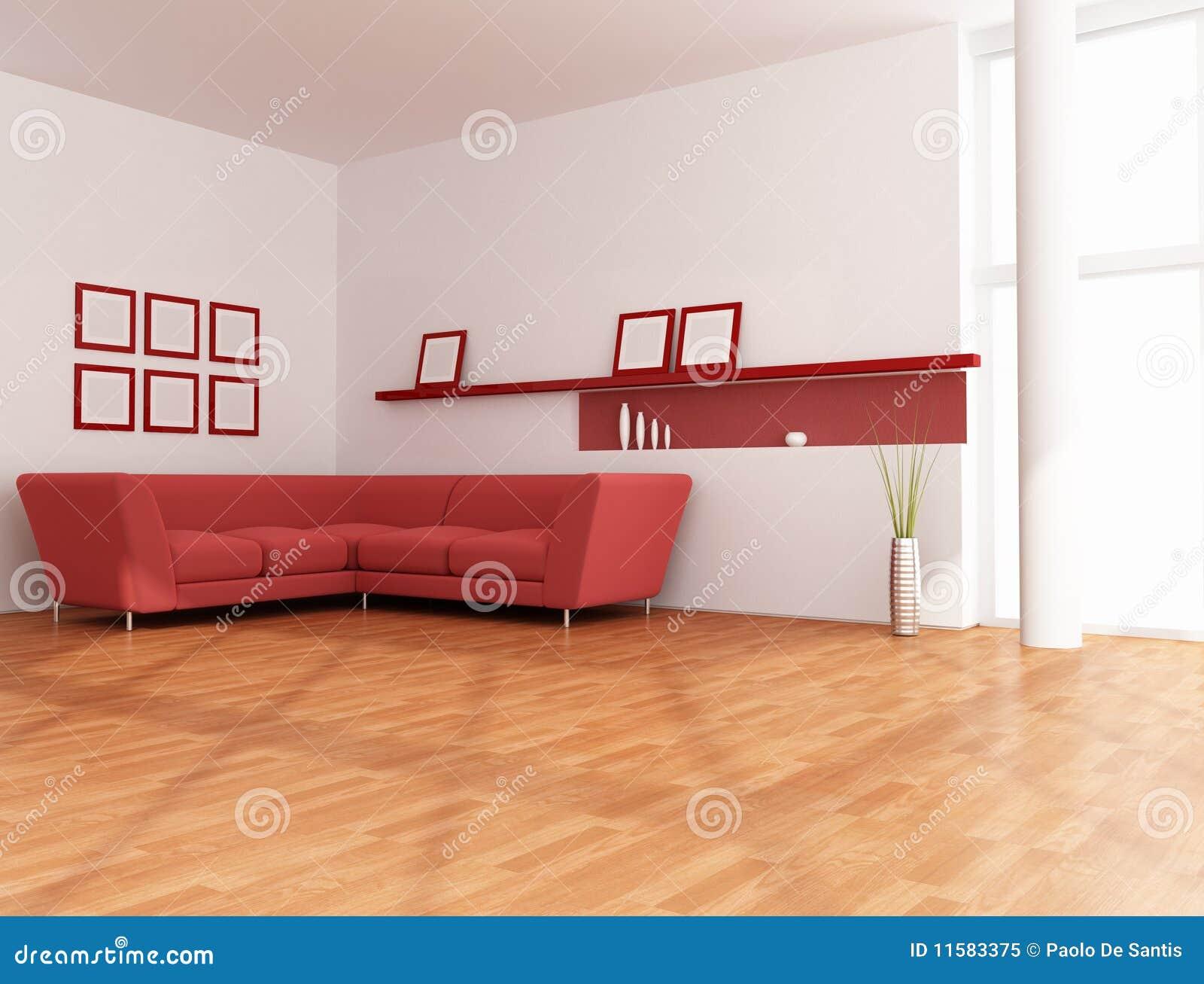 Sala De Estar Vermelha E Branca Minimalista Foto de Stock Royalty Free