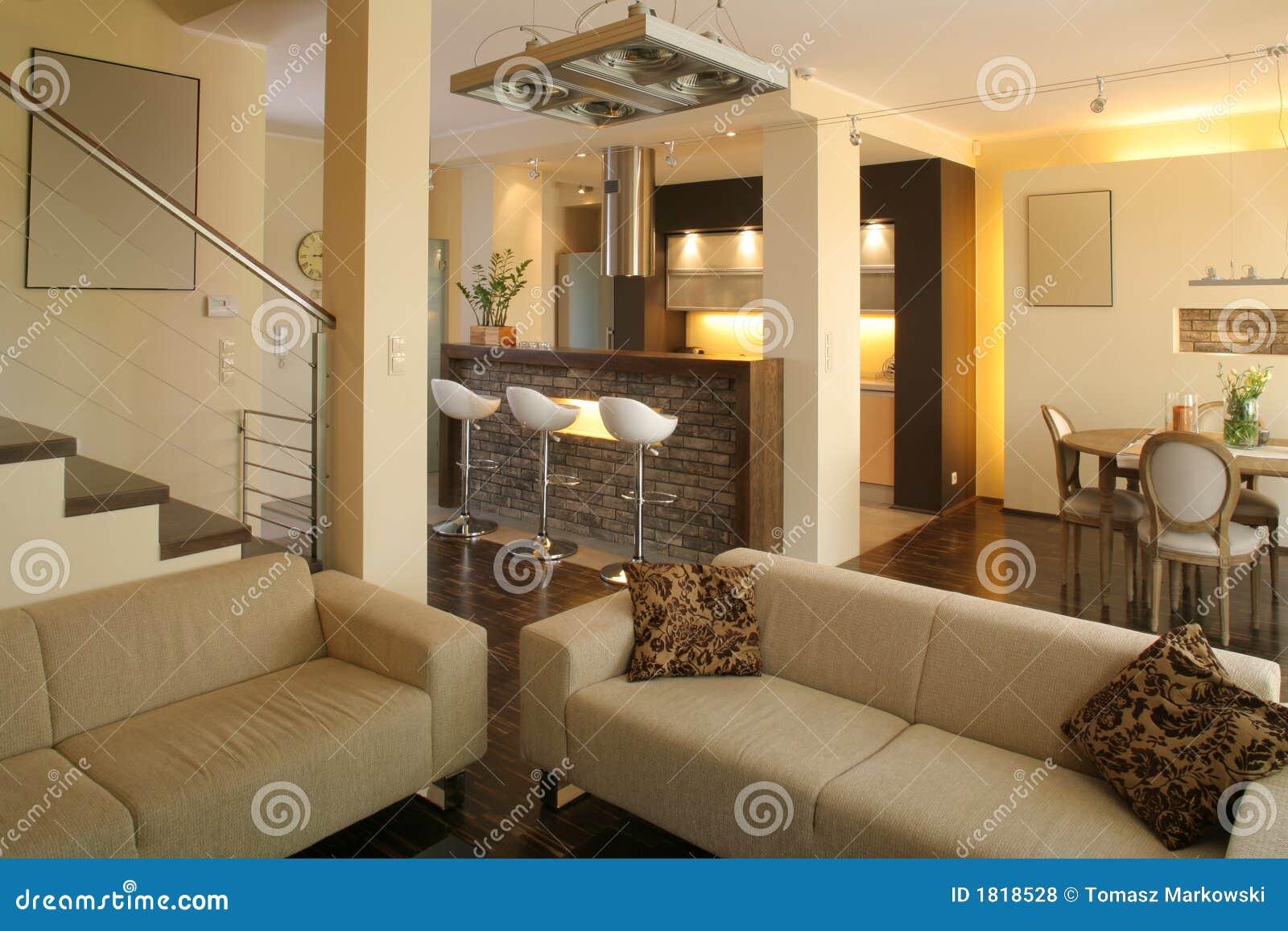 Sala de estar y cocina modernas foto de archivo imagen for Cocina de planta abierta sala de estar