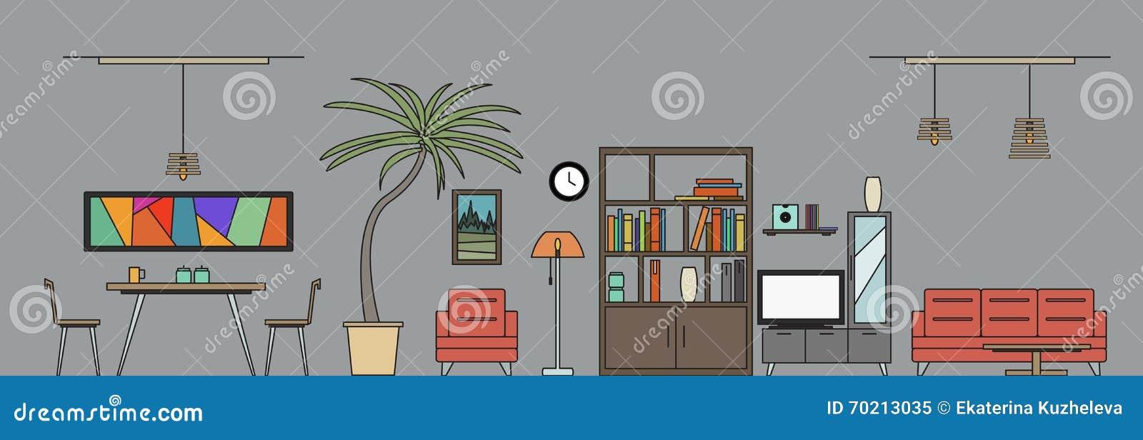 Sala De Estar Y Comedor Con Muebles Cuartos De La Casa Del Diseño ...
