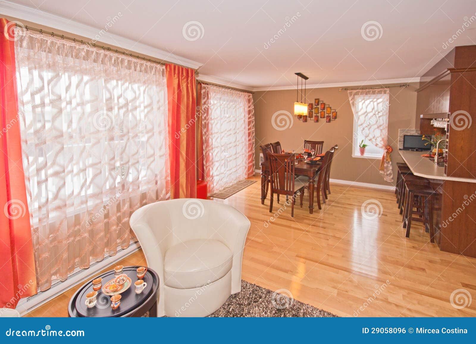 Sala de estar y comedor moderno foto de archivo imagen for Comedor y sala de estar decorados