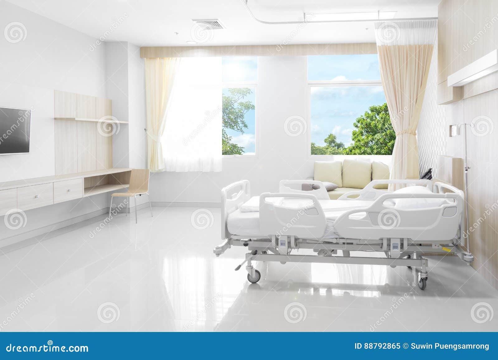 Sala de hospital com camas e o médico confortável equipada com o na