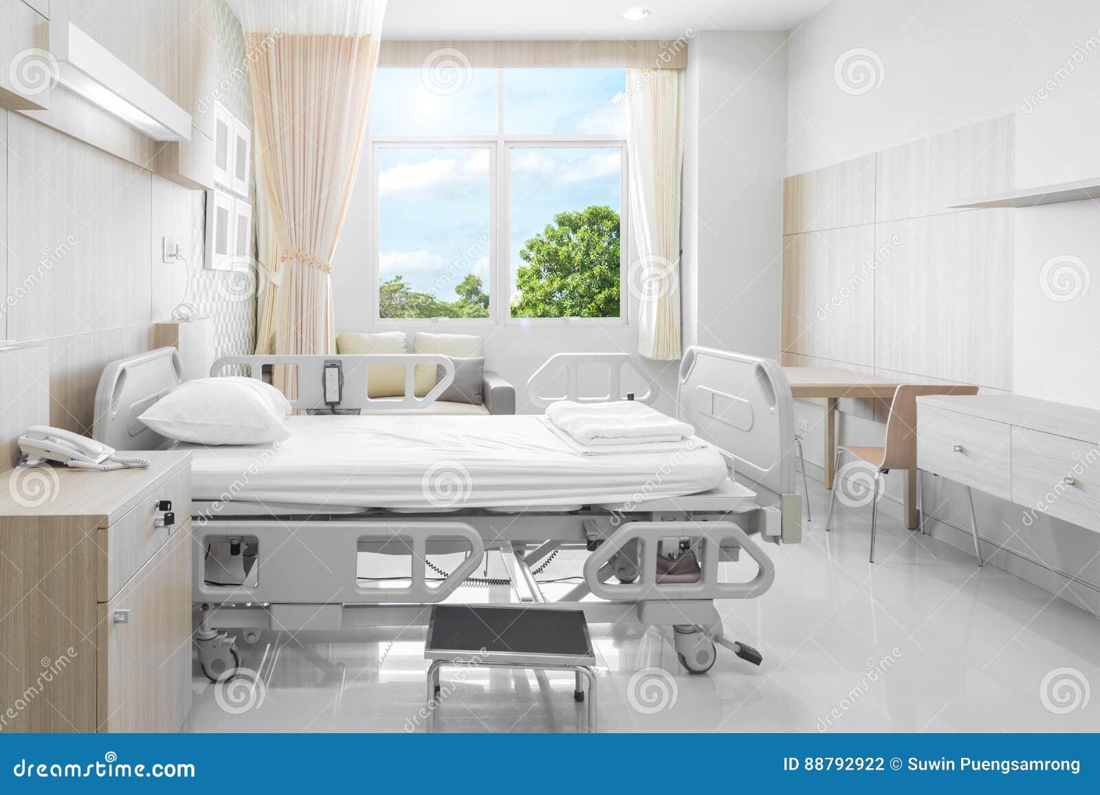 Sala de hospital com camas e o médico confortável equipada em um mo