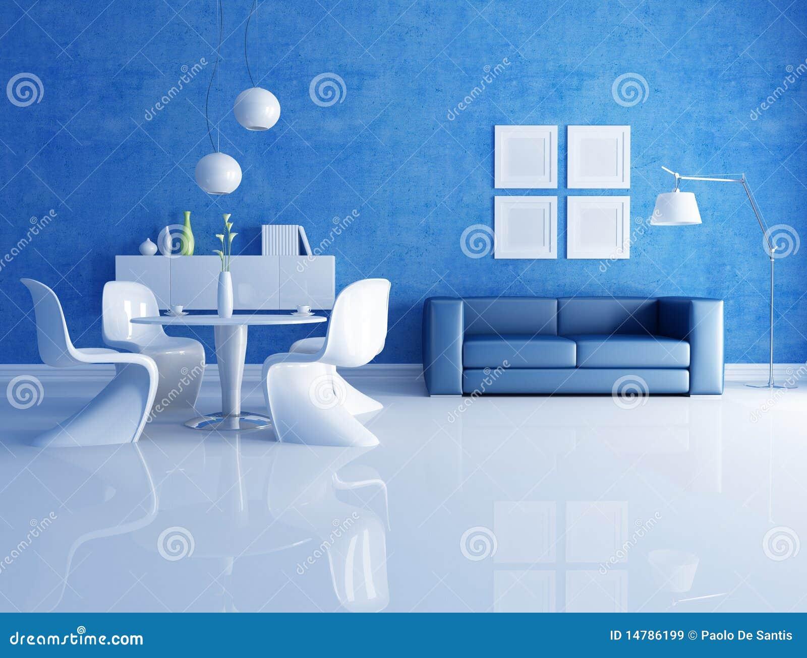 Sala de jantar azul e branca