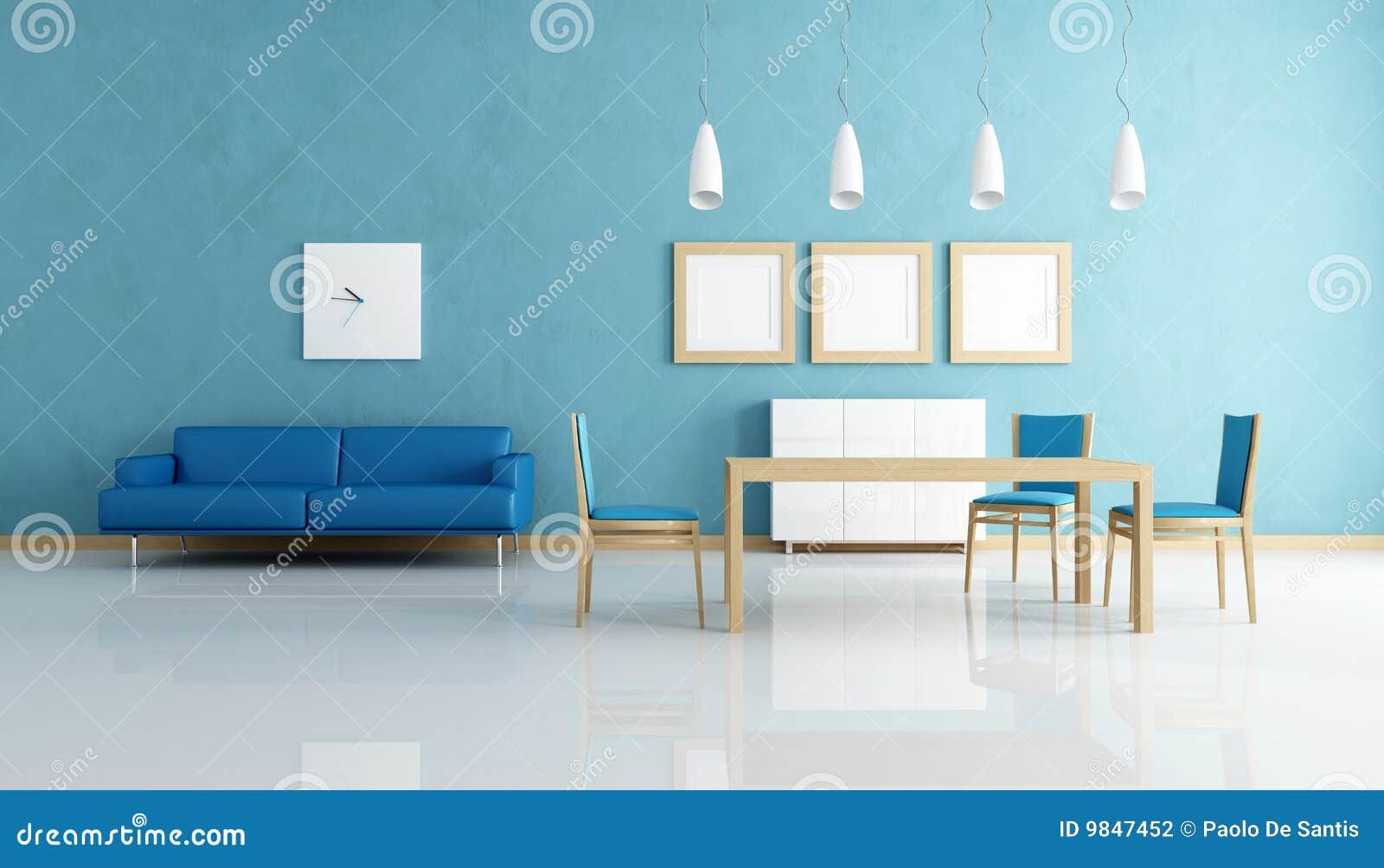 Sala De Jantar Azul E Branca Fotografia de Stock  Imagem 9847452