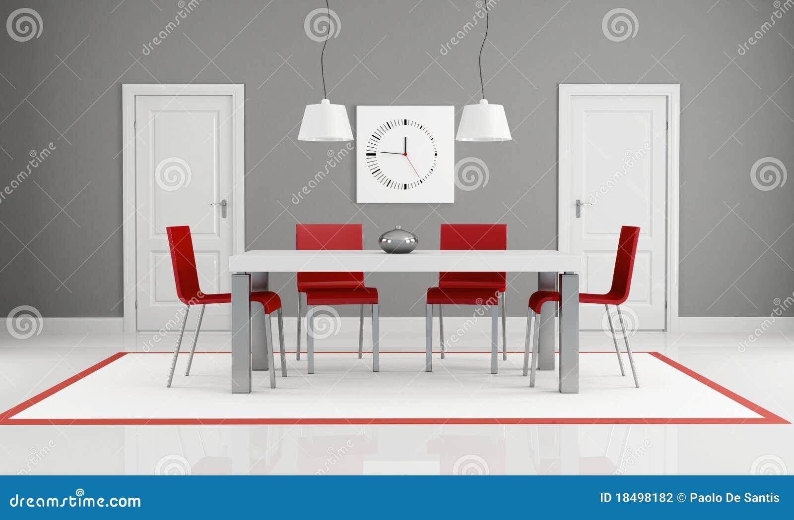 Sala de jantar cinzenta e vermelha ilustra o stock for Salle a manger blanche et grise