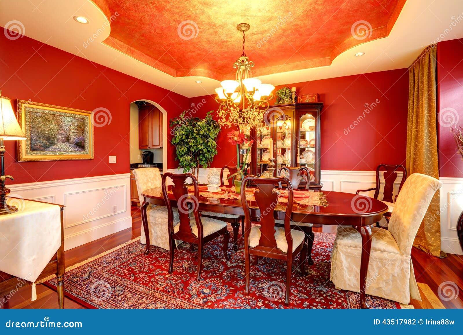 Sala De Jantar Luxuosa Na Cor Vermelha Brilhante Foto de Stock - Imagem: 43517982