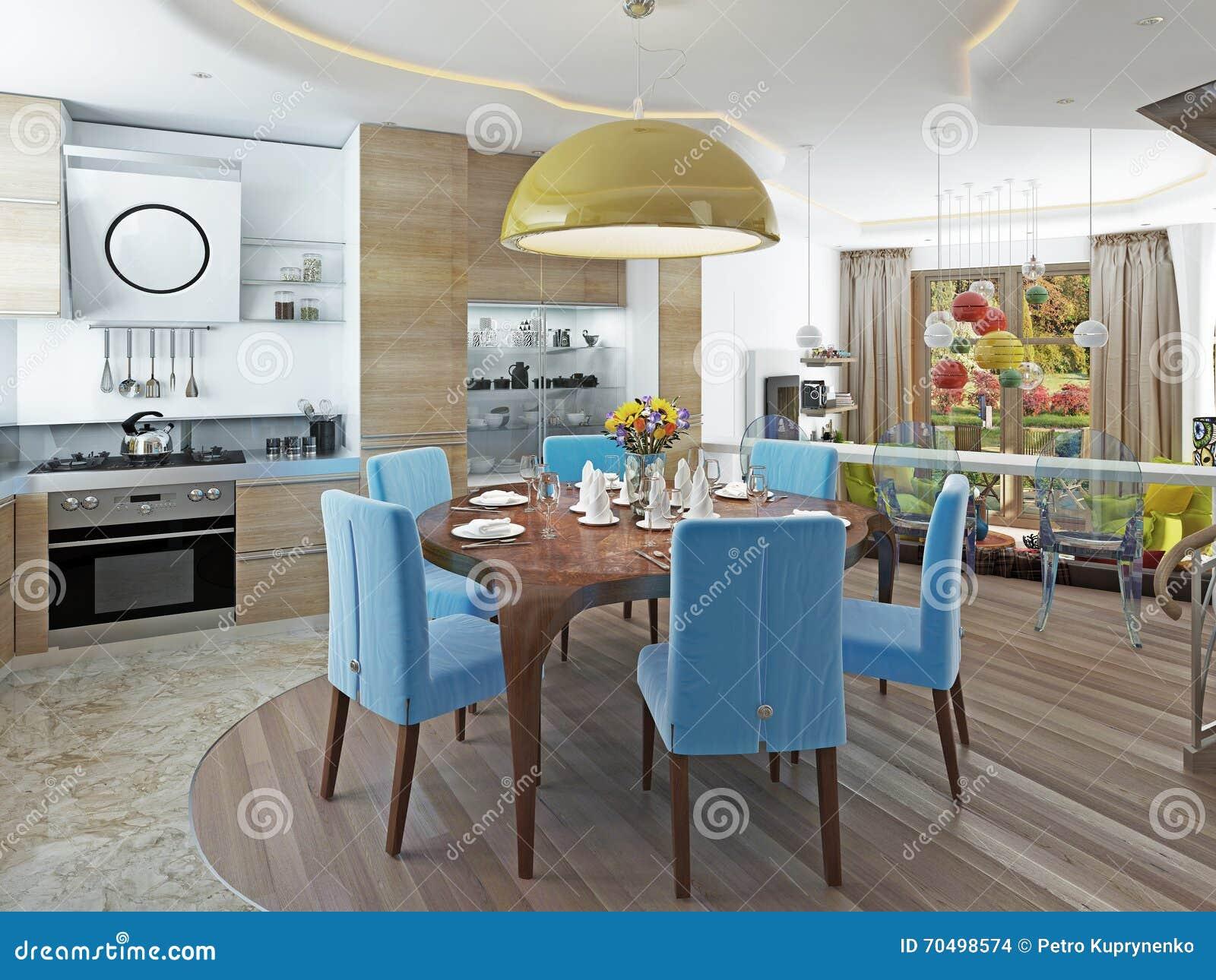 Sala De Jantar Moderna Com Cozinha Em Um Kitsch Na Moda Do Estilo