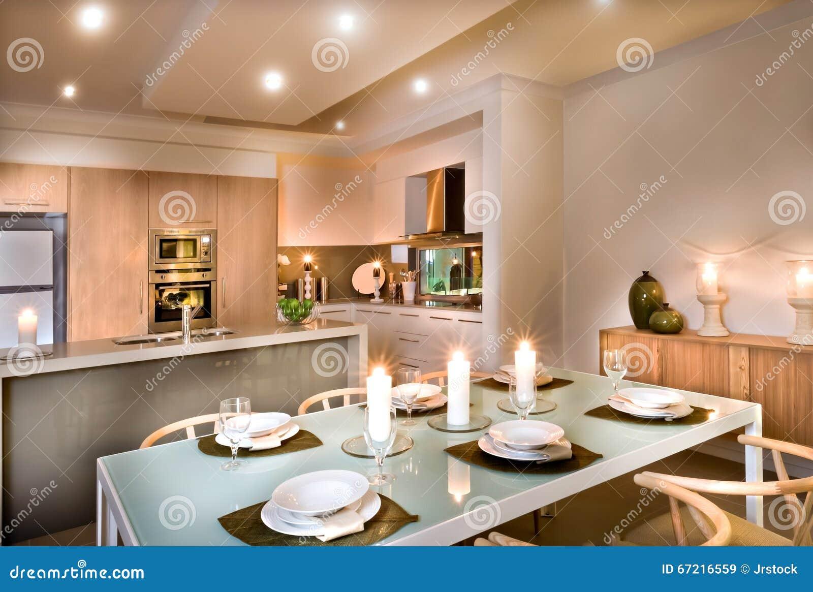 Sala de jantar moderna e a cozinha foto de stock imagem for Arredamento sala moderna