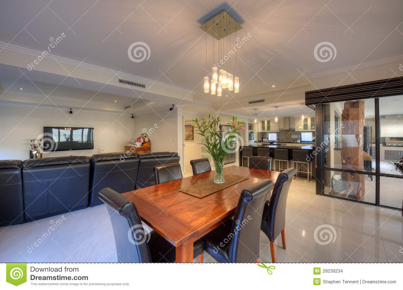 Download Sala De Jantar Na HOME Luxuosa Foto de Stock - Imagem de marrom, jantar: 29239234