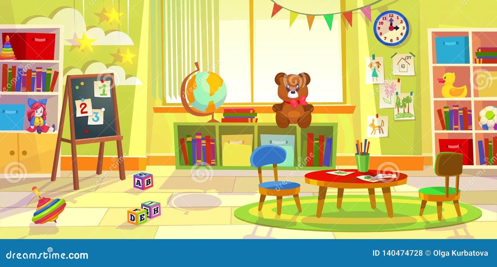 Sala de juegos de los niños Sala de clase del juego del apartamento del niño de la guardería que aprende sillas de tabla preescol