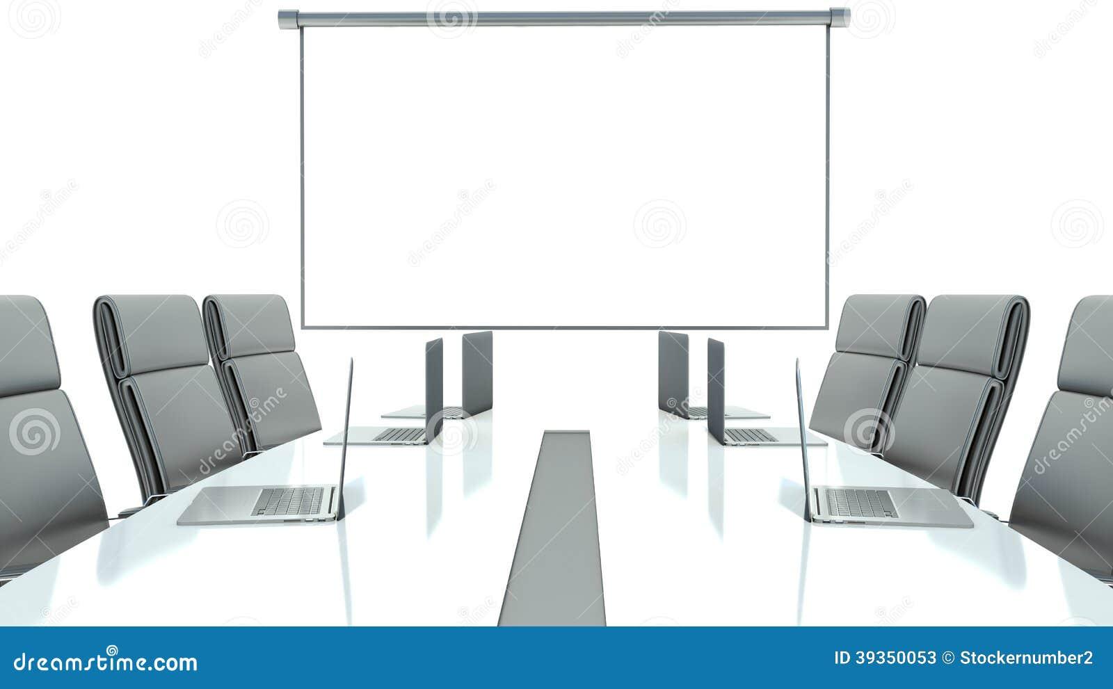 Sala de reuni n con la pantalla y la mesa de reuniones de for Mesa sala de reuniones
