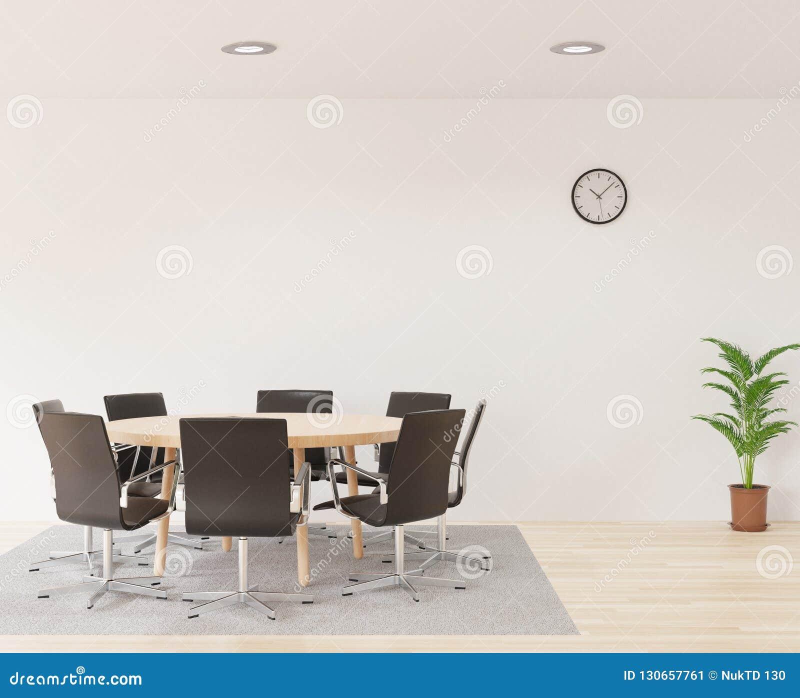 Sala de reunión de la representación 3D con las sillas, la tabla de madera redonda, el sitio blanco, la alfombra y el pequeño árb