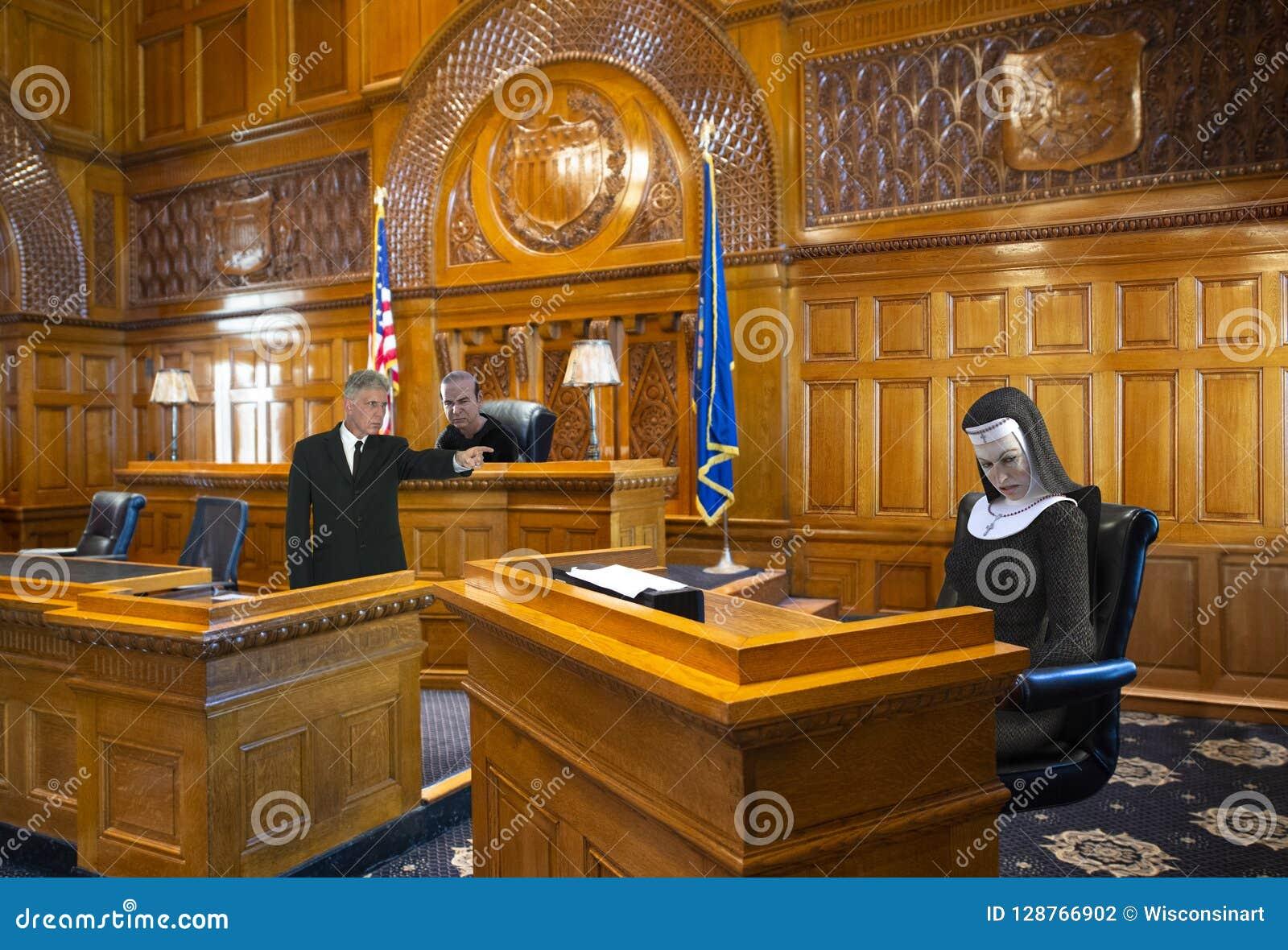 Sala de tribunal divertida, monja, juez, abogado
