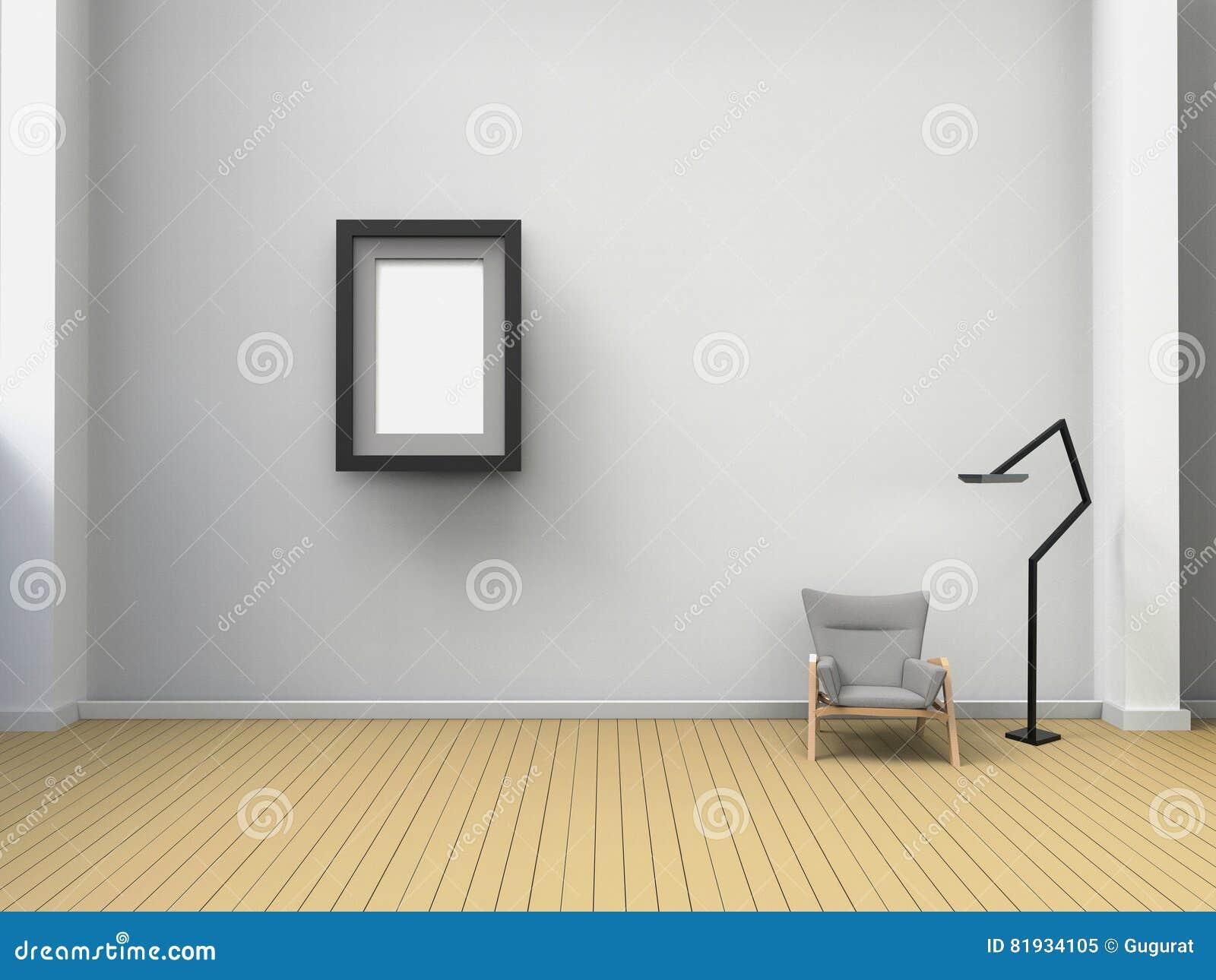 Sala De Visitas Art Frame Modern E Cadeiras Na Parede Branca E No  -> Parede Galeria Sala