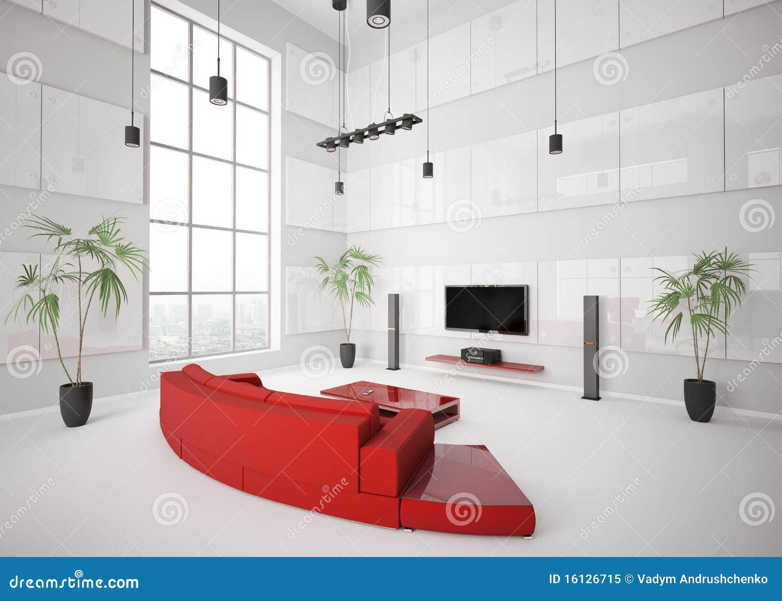 Foto de Stock Royalty Free: Sala de visitas branca com sofá vermelho ...