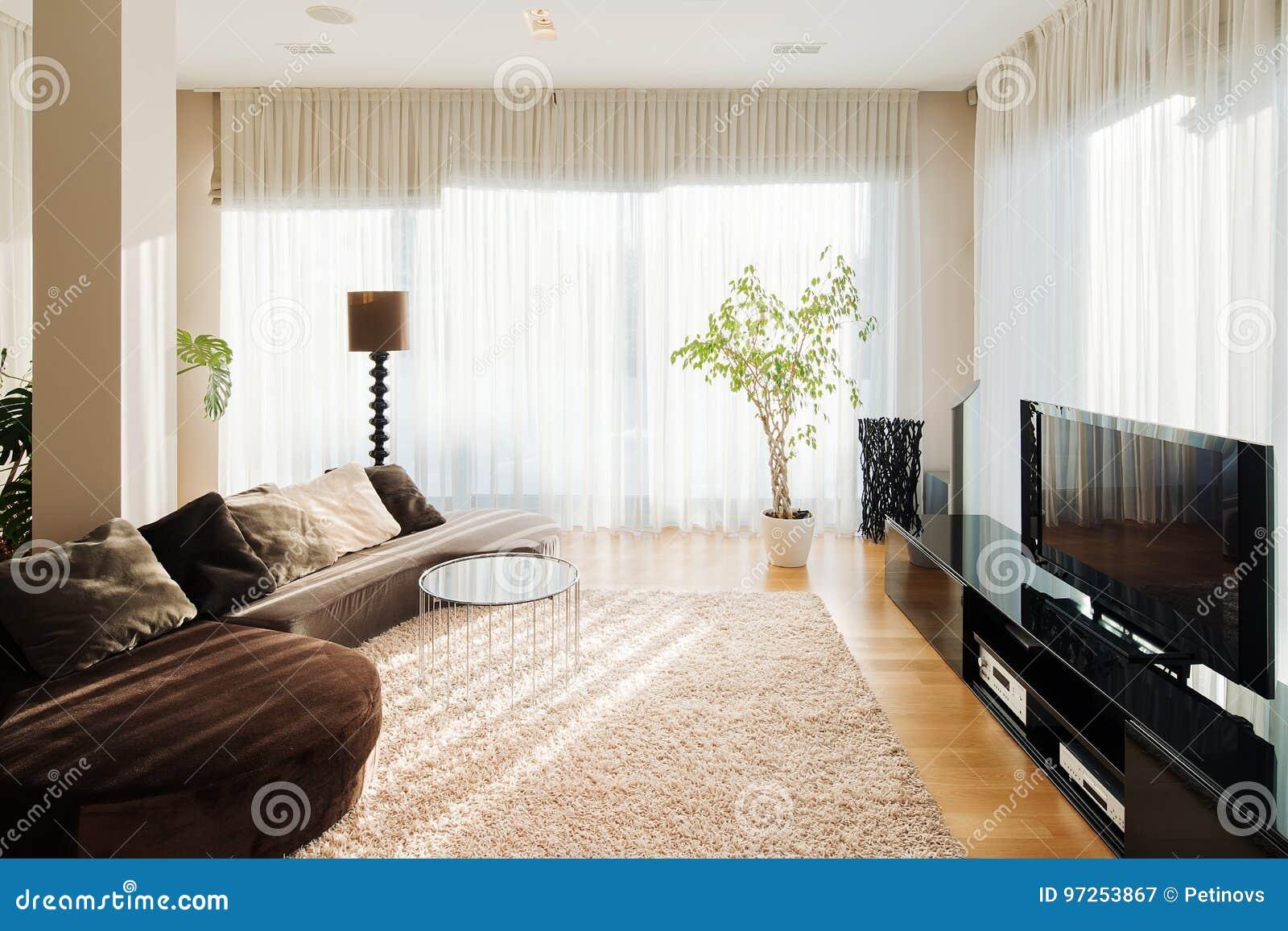 Sala de visitas confortável com sofá e aparelho de televisão longos