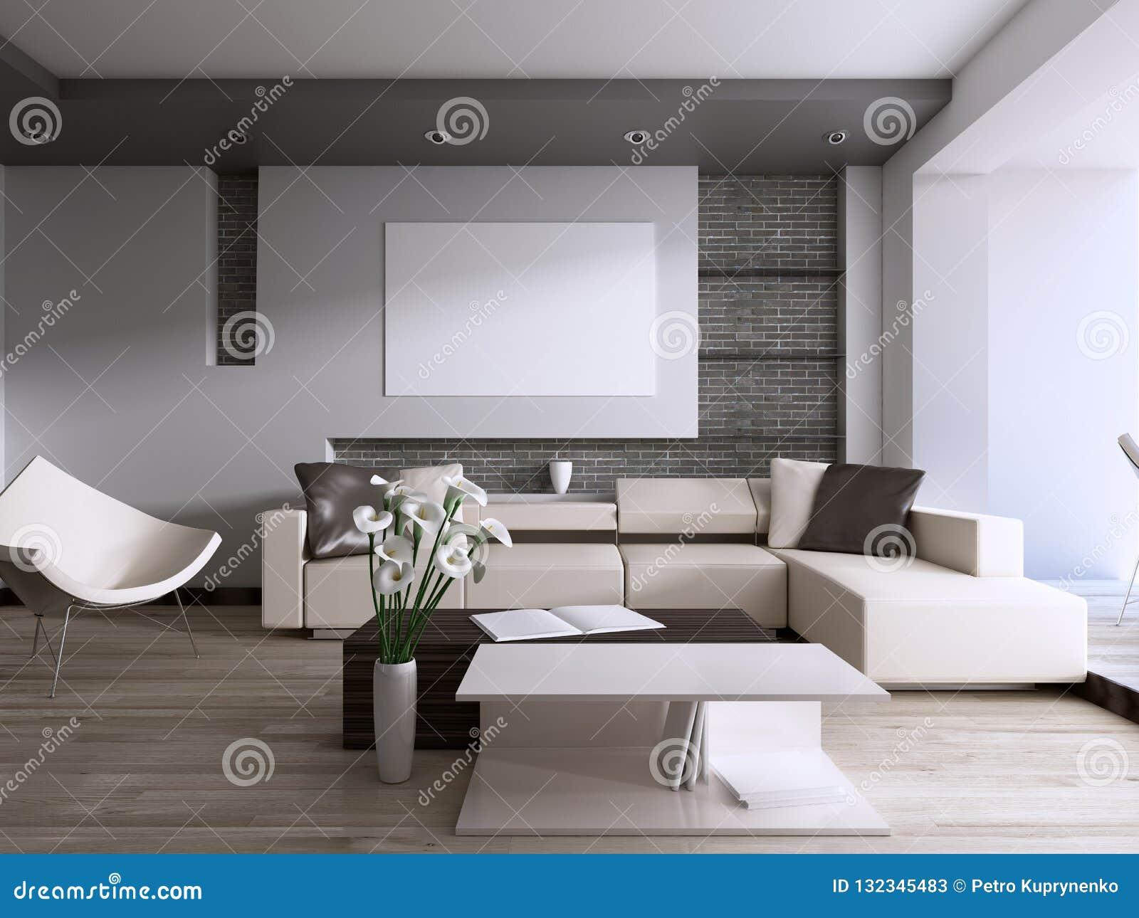 Sala de visitas contemporânea com a grande janela que negligencia o quintal
