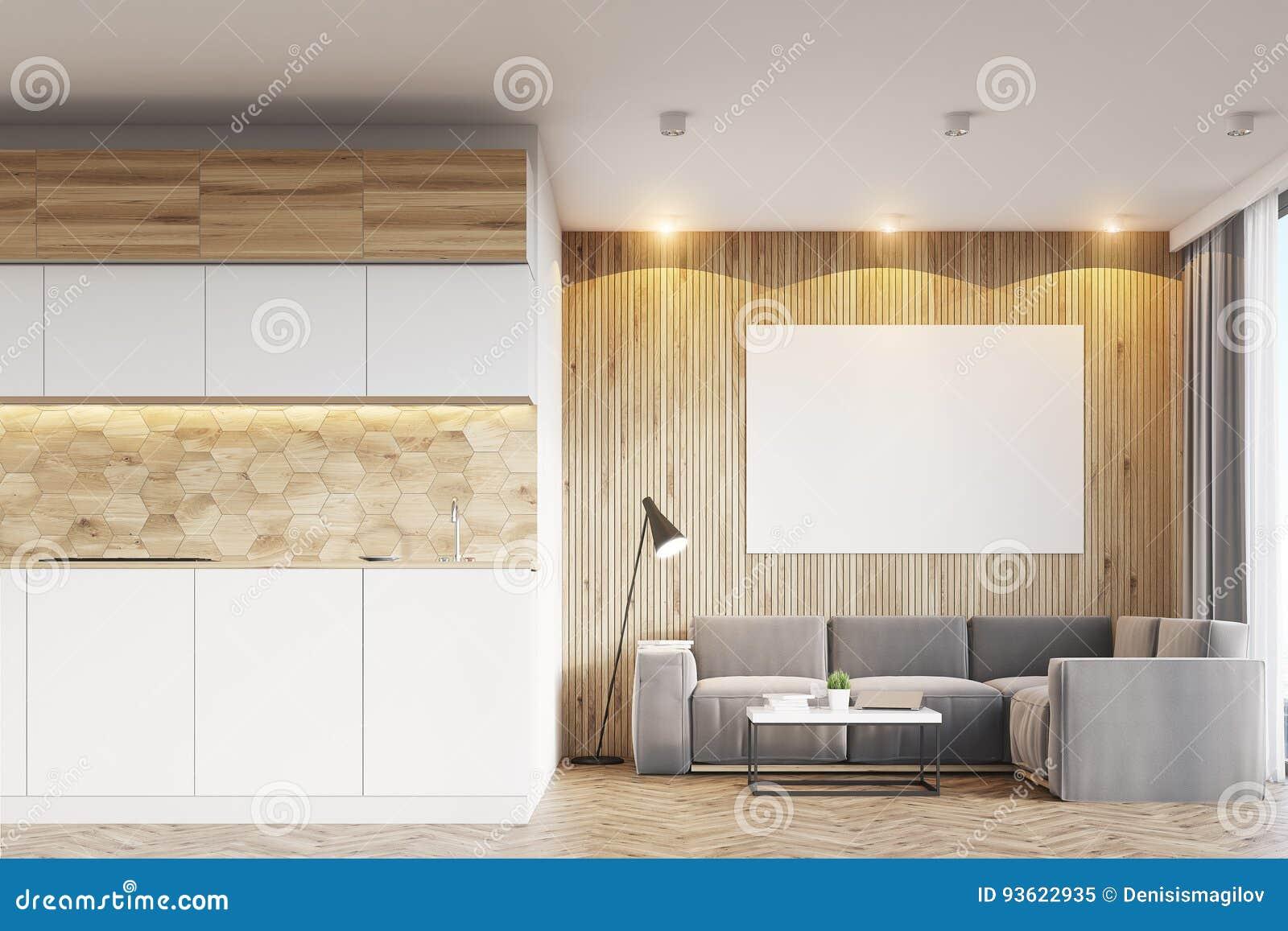 Sala de visitas e cozinha de madeira claras