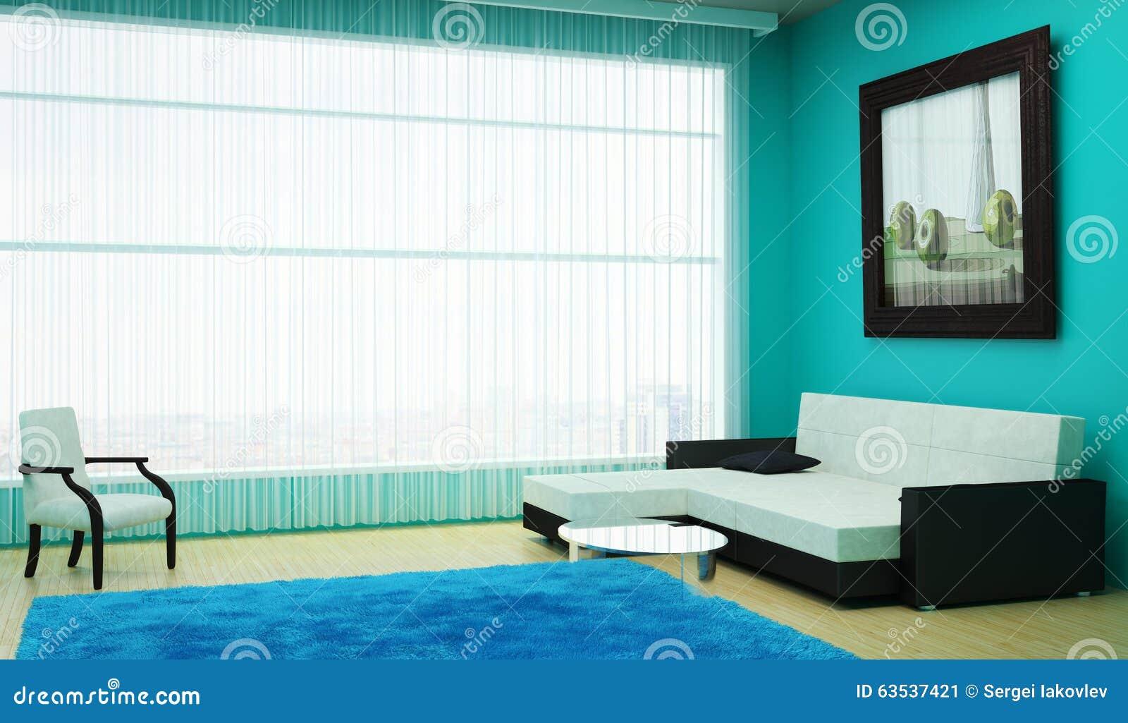 Ilustração Stock Sala de visitas interior com uma grande janela que
