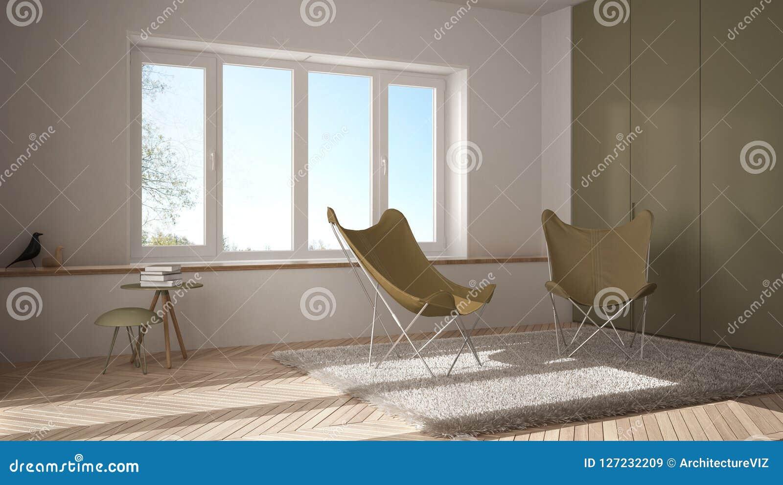 Sala de visitas mínima branca e amarela com tapete da poltrona, assoalho de parquet e a janela panorâmico, arquitetura escandinav