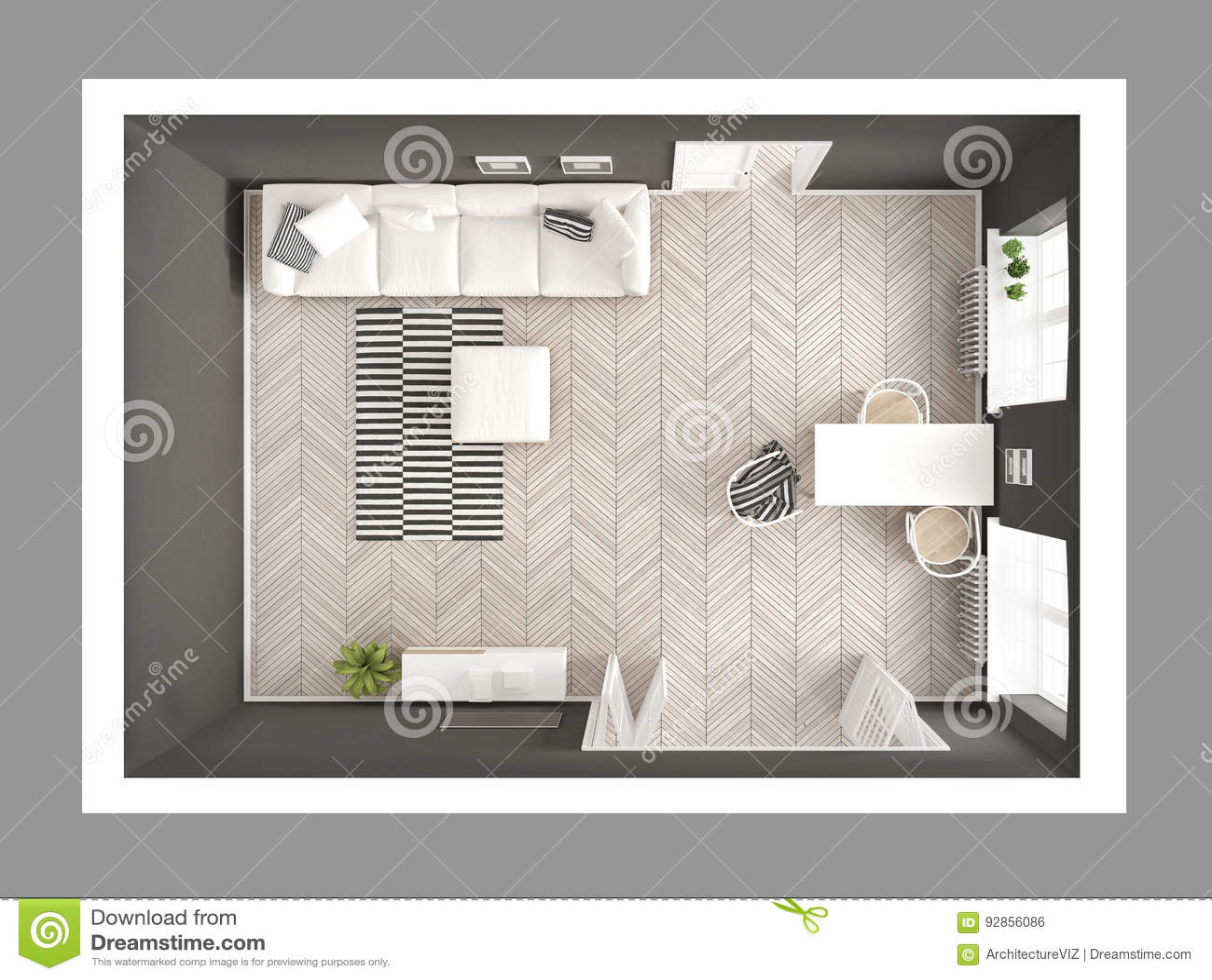 Sala de visitas minimalista brilhante com sofá e mesa de jantar, scandi