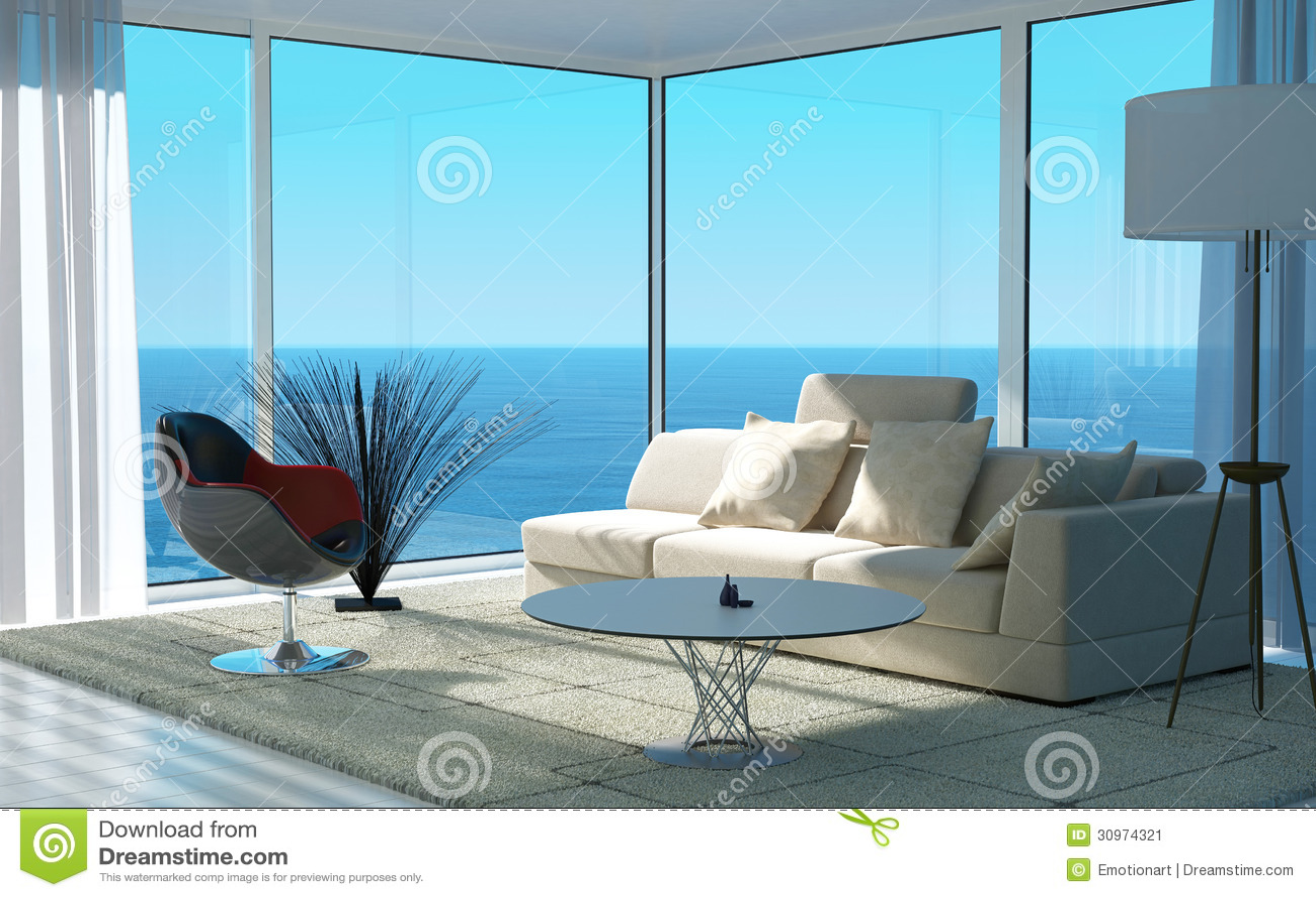 Sala de visitas moderna com opinião do seascape | Interior do sótão