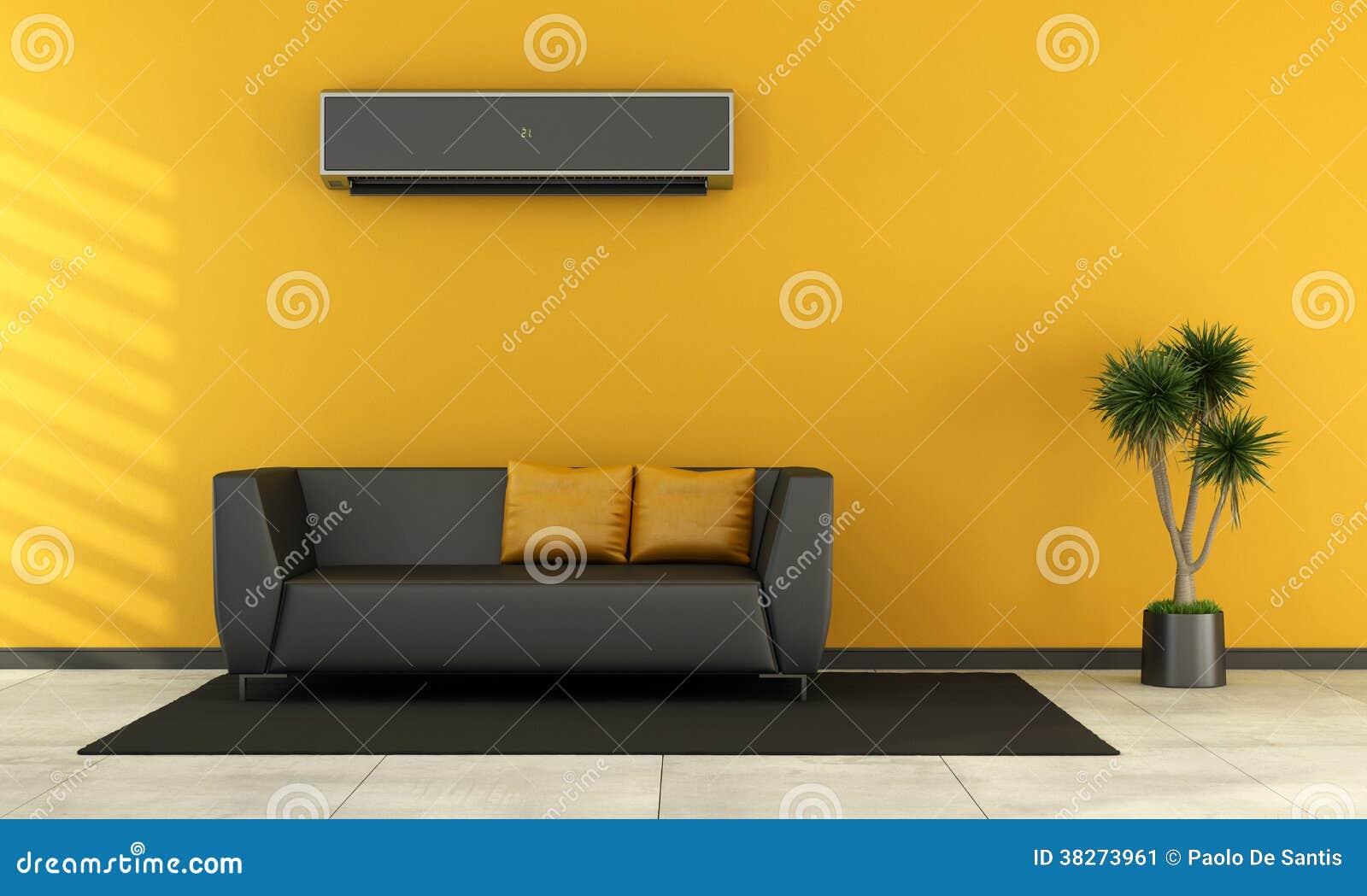 Sala De Visitas Moderna Com Sof Preto Ilustra O Stock Ilustra O  -> Cor De Parede Para Sala Amarelo