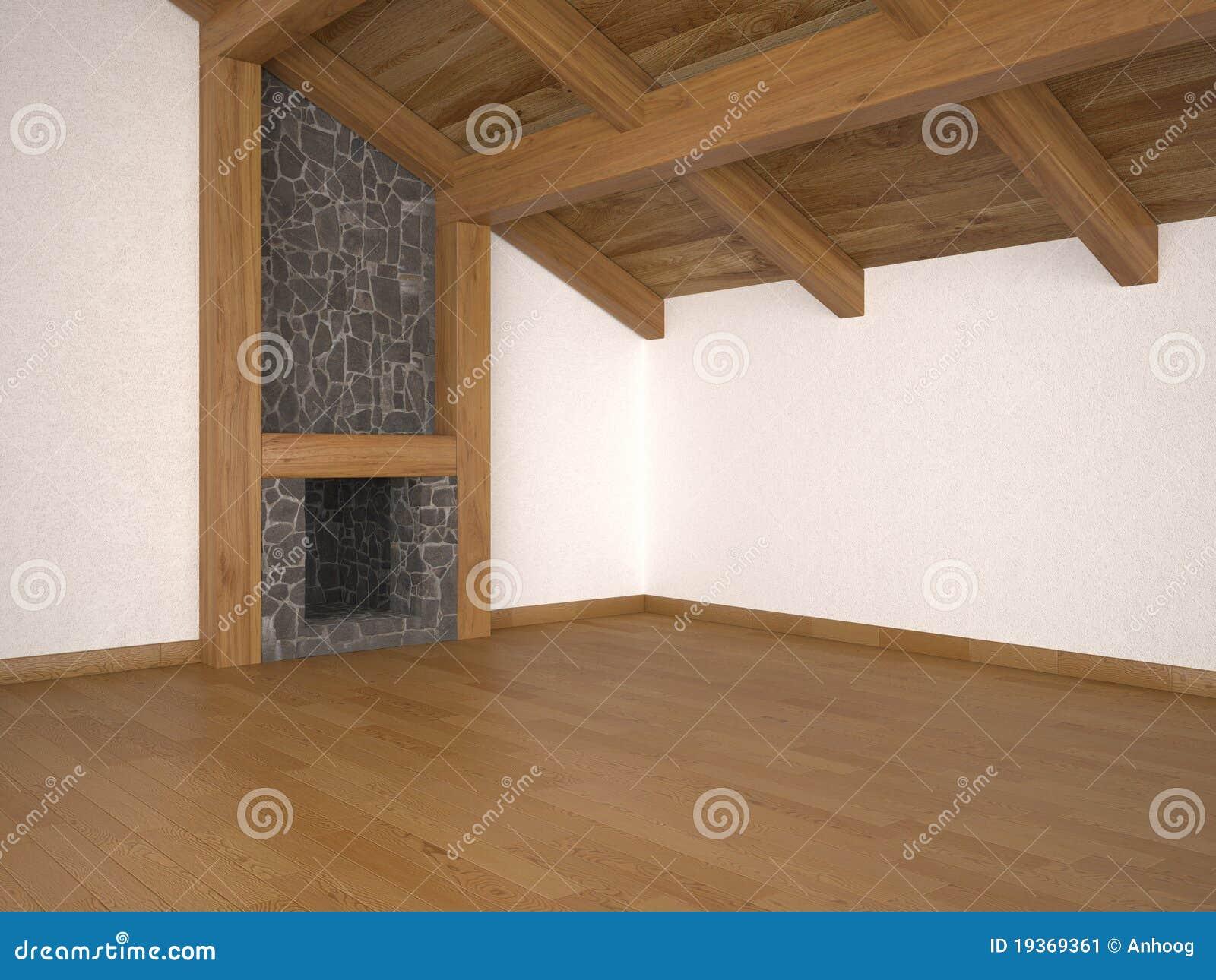 Sala de visitas vazia com feixes da chaminé e de telhado