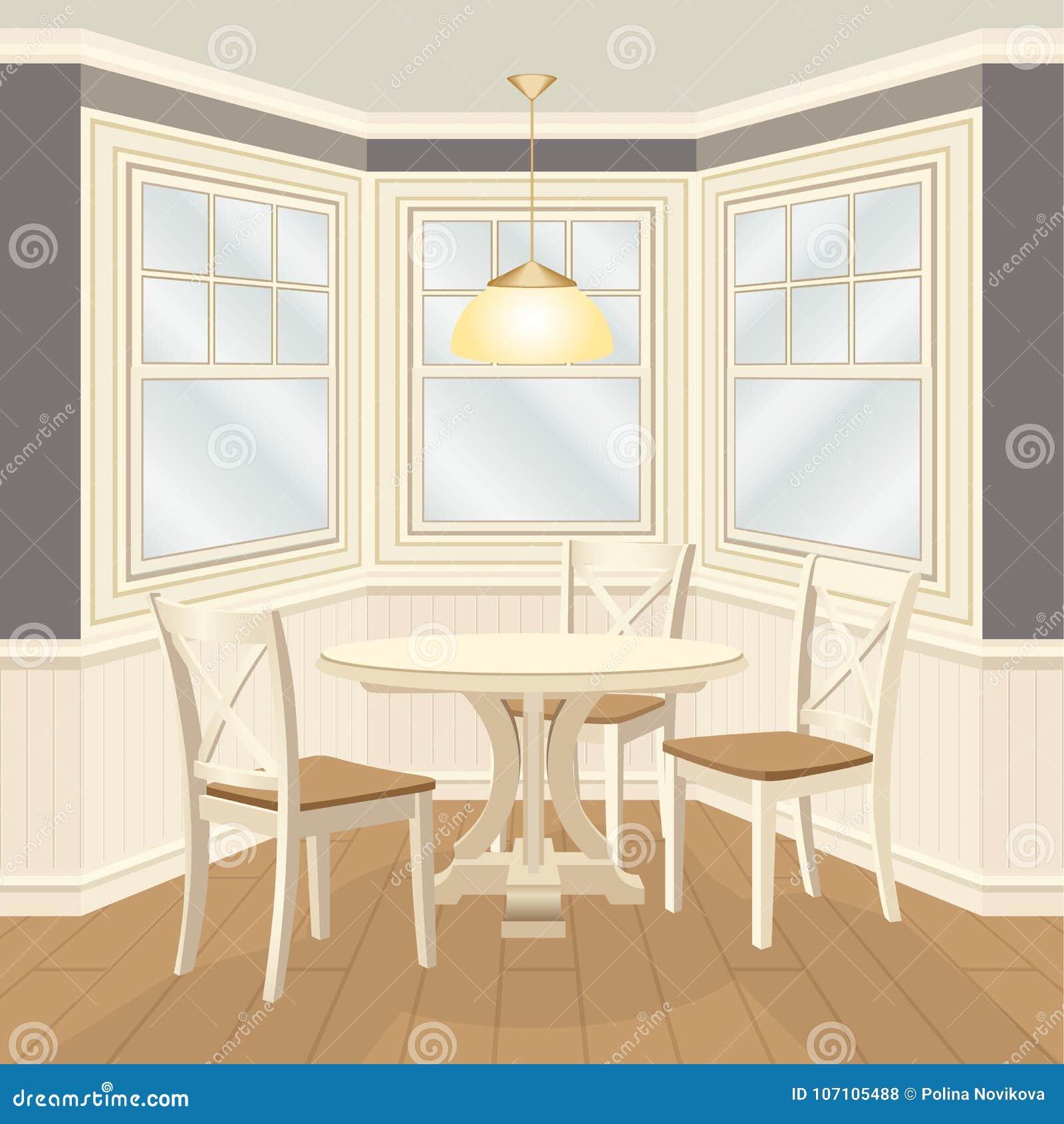 Sala dinning clássica com mesa redonda e janela de baía das cadeiras