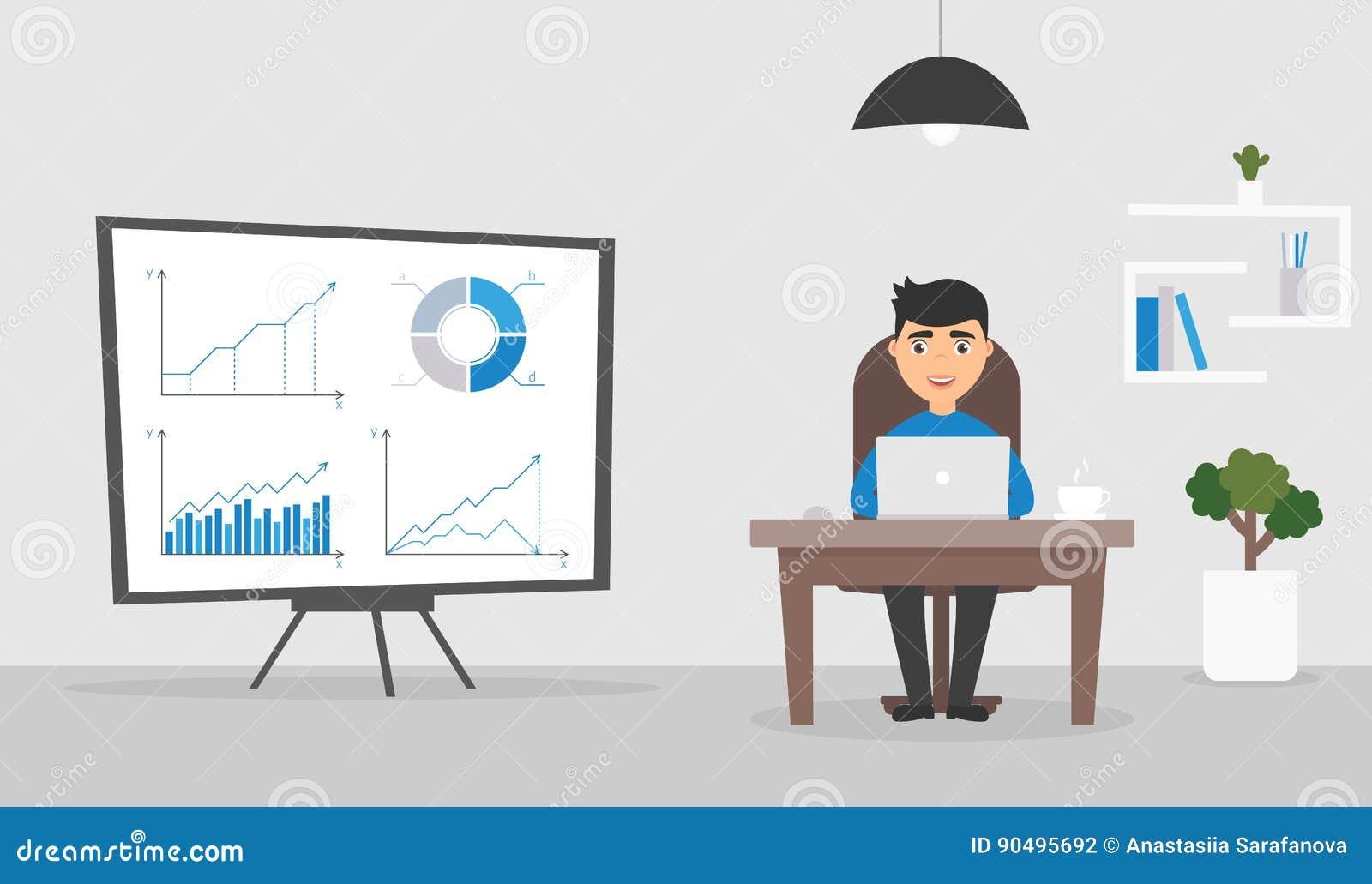Sala do escritório Homem de negócios ou gerente que trabalham em um computador Gráficos e cartas no suporte Caráter bonito Projet