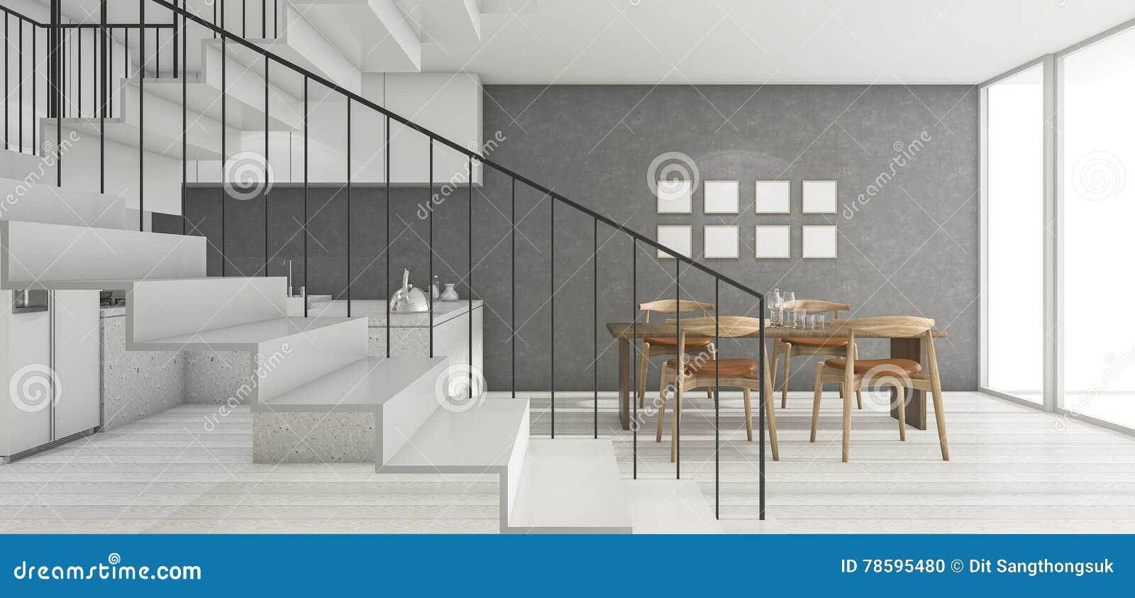 Sala Do S T O Da Rendi O 3d Perto Da Cozinha Com A Boa Escada Do