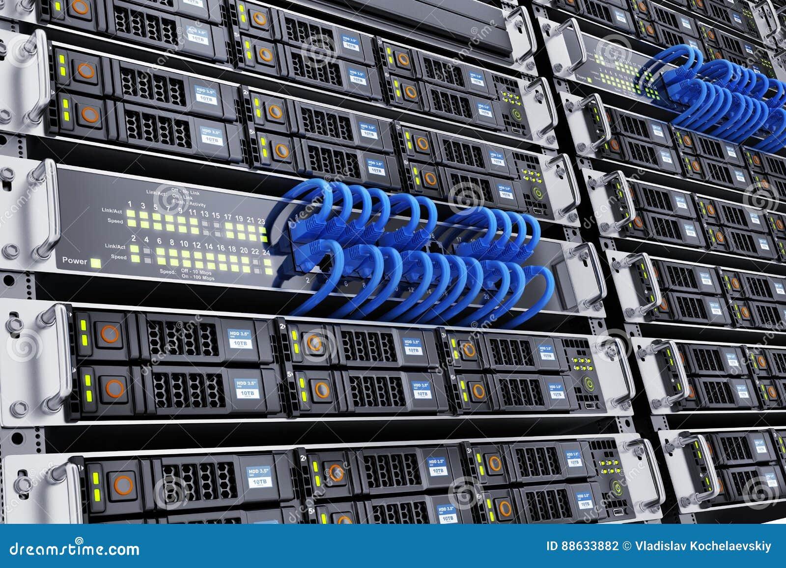 Sala do servidor e cabo da rede