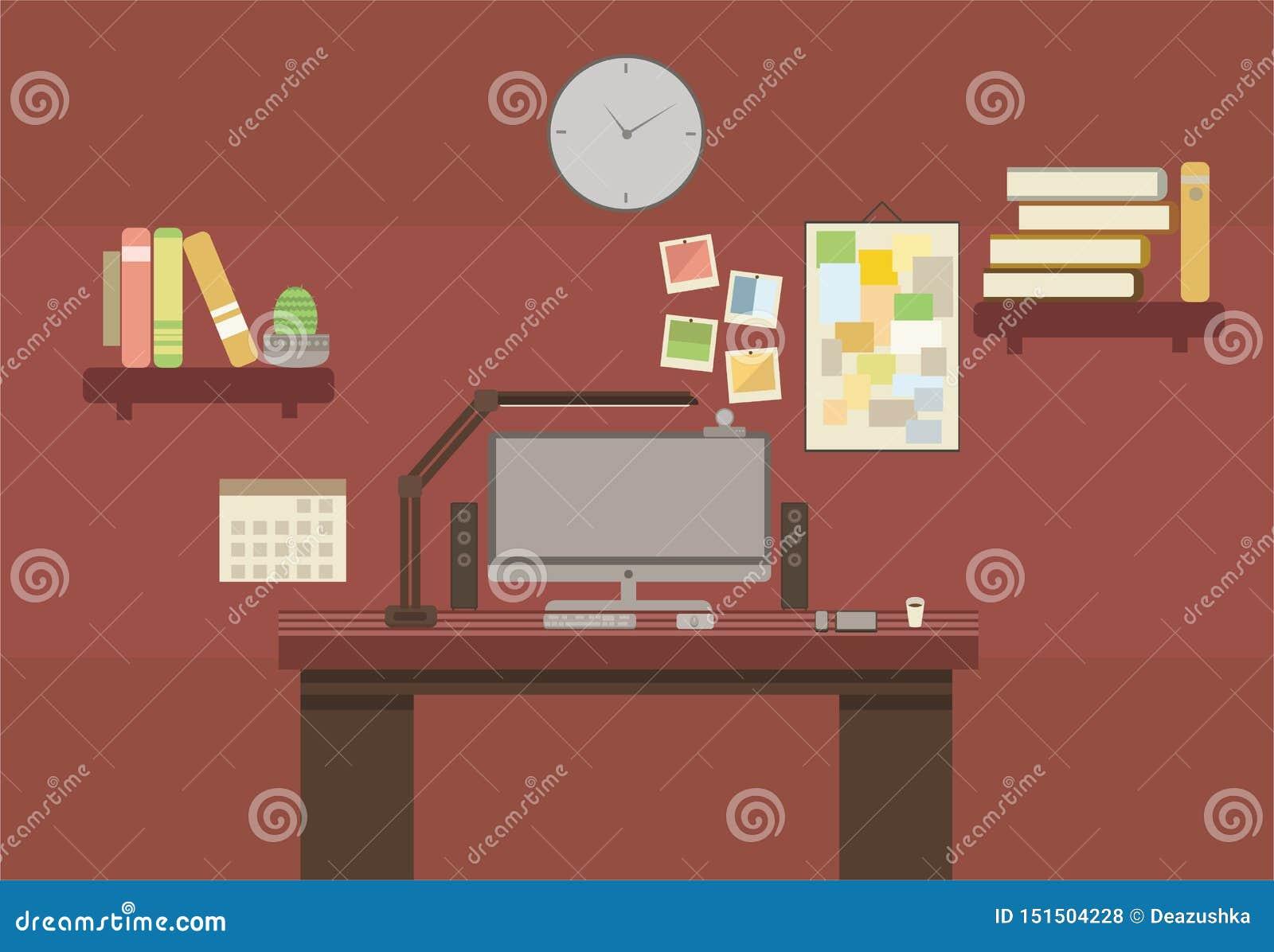 Sala lisa do armário do marrom da cor do estilo do lugar do escritório da cópia