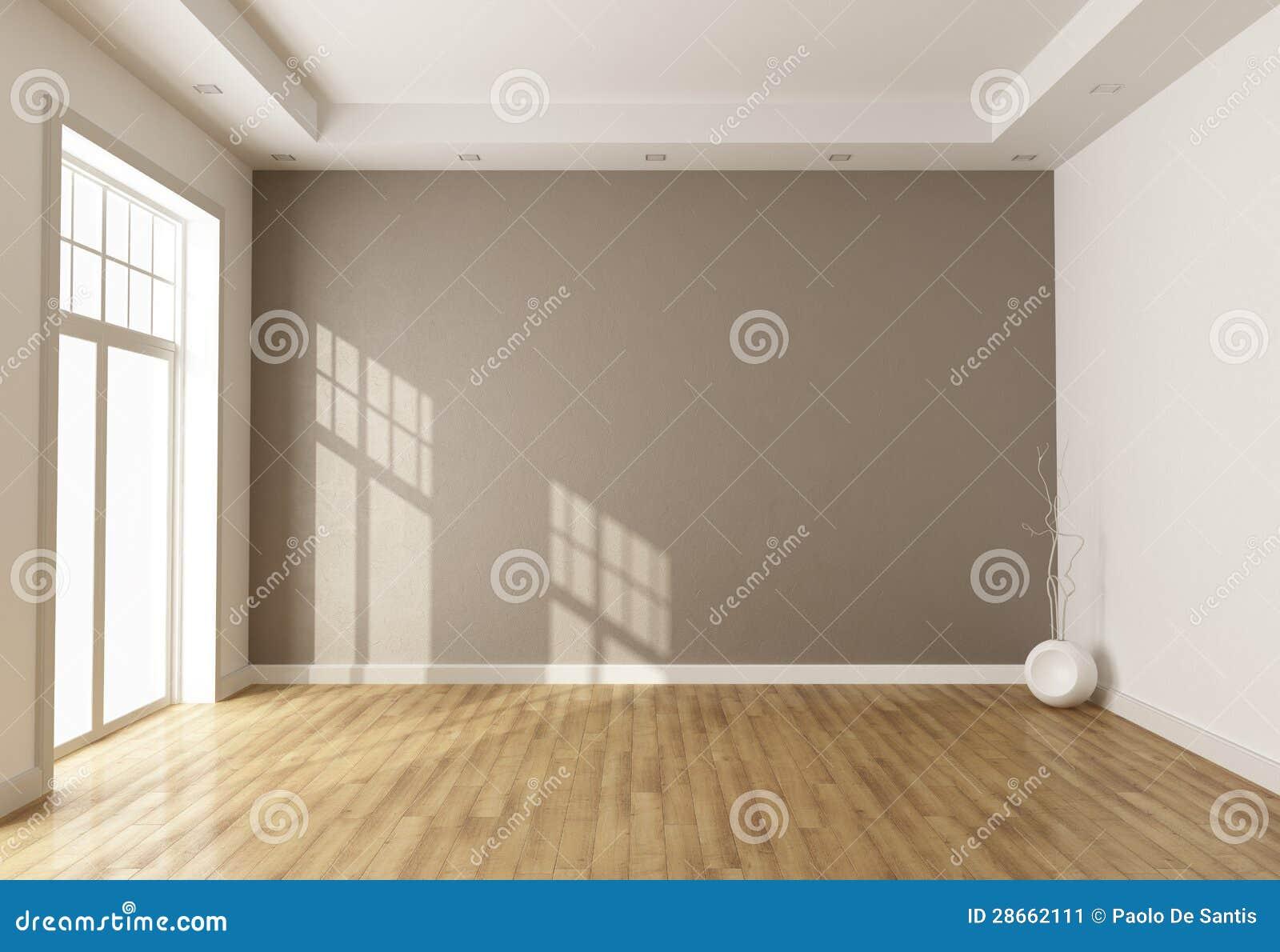 Sala De Estar Vazia ~ Esvazie a sala marrom com indicador e parquet  rendição