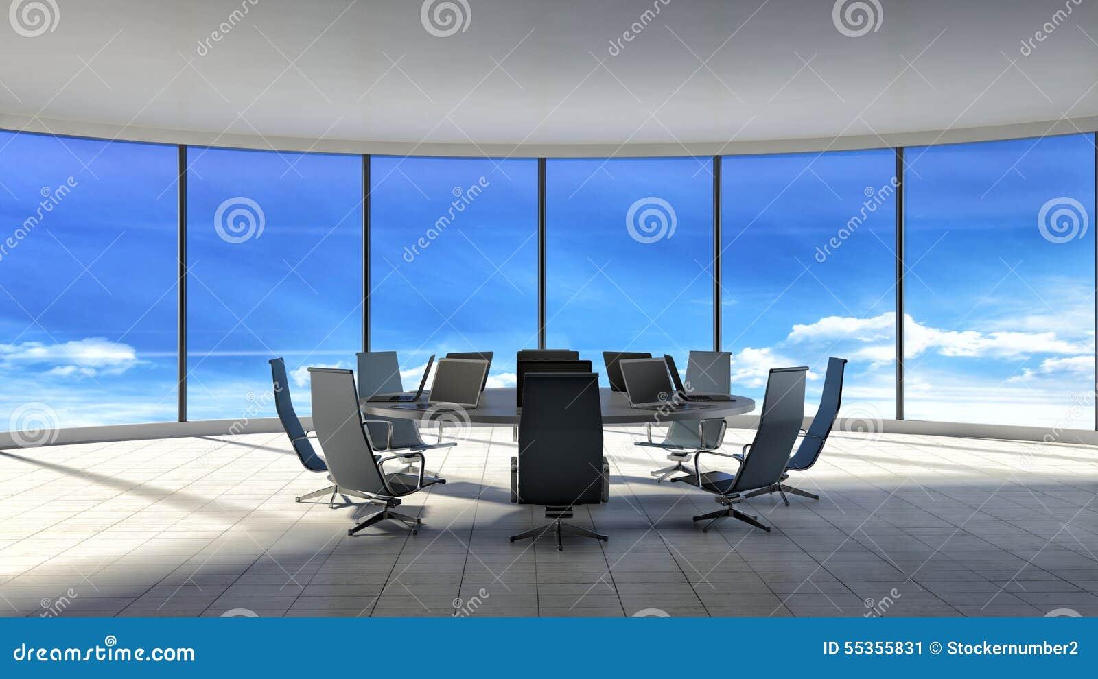 Sala per conferenze Ufficio moderno con le finestre illustrazione 3D