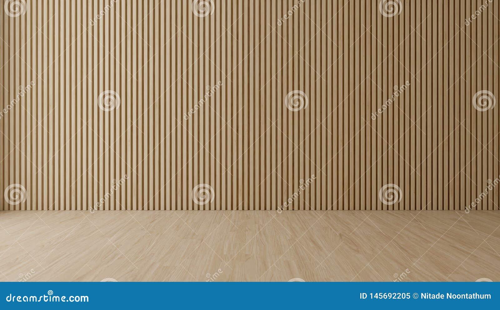 Sala vazia com parede de madeira