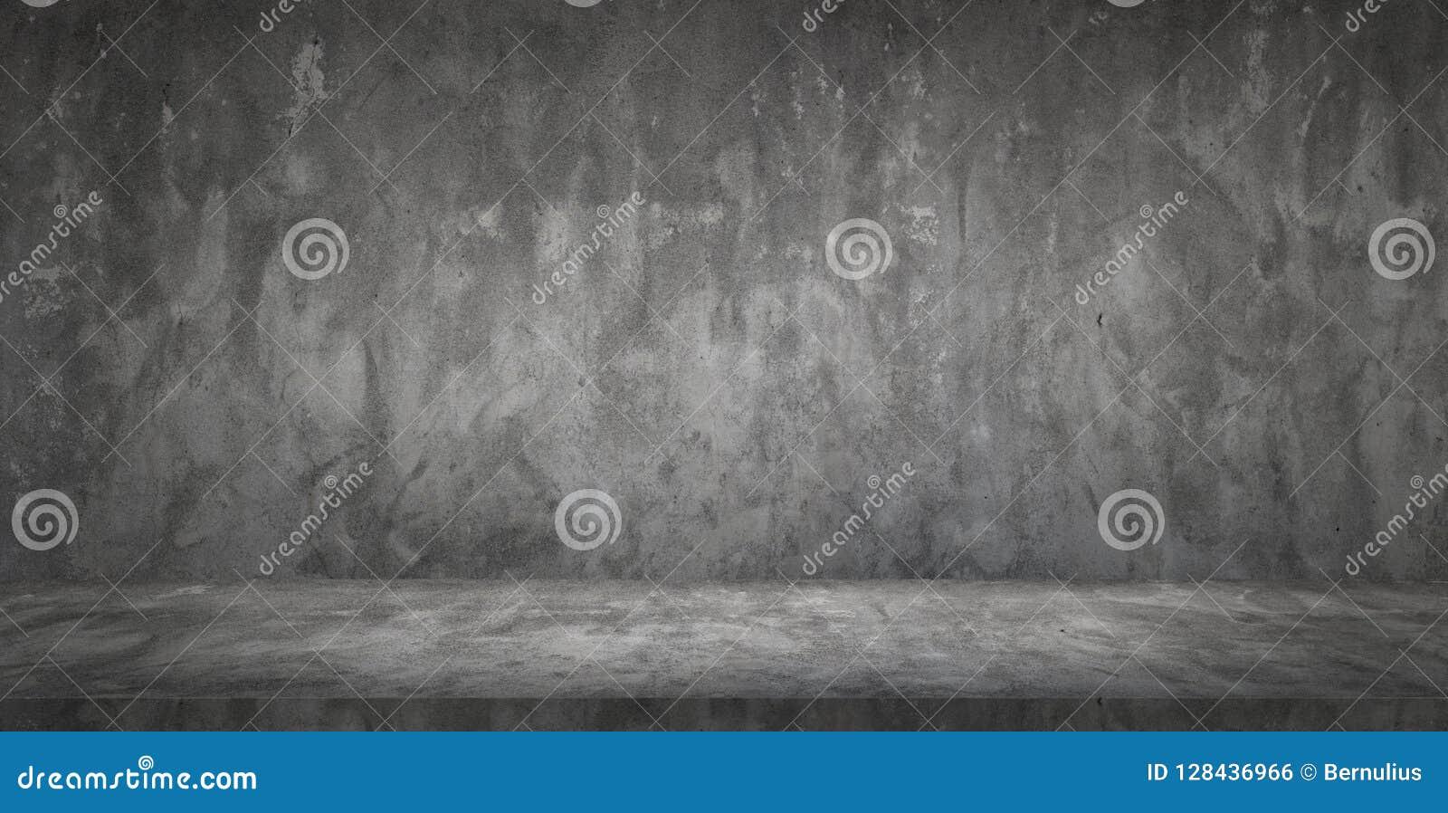 Sala vazia do muro de cimento e do assoalho do preto escuro