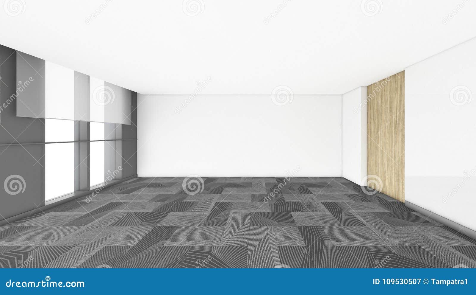A sala vazia moderna, 3d rende o design de interiores, zombaria acima do illustrati