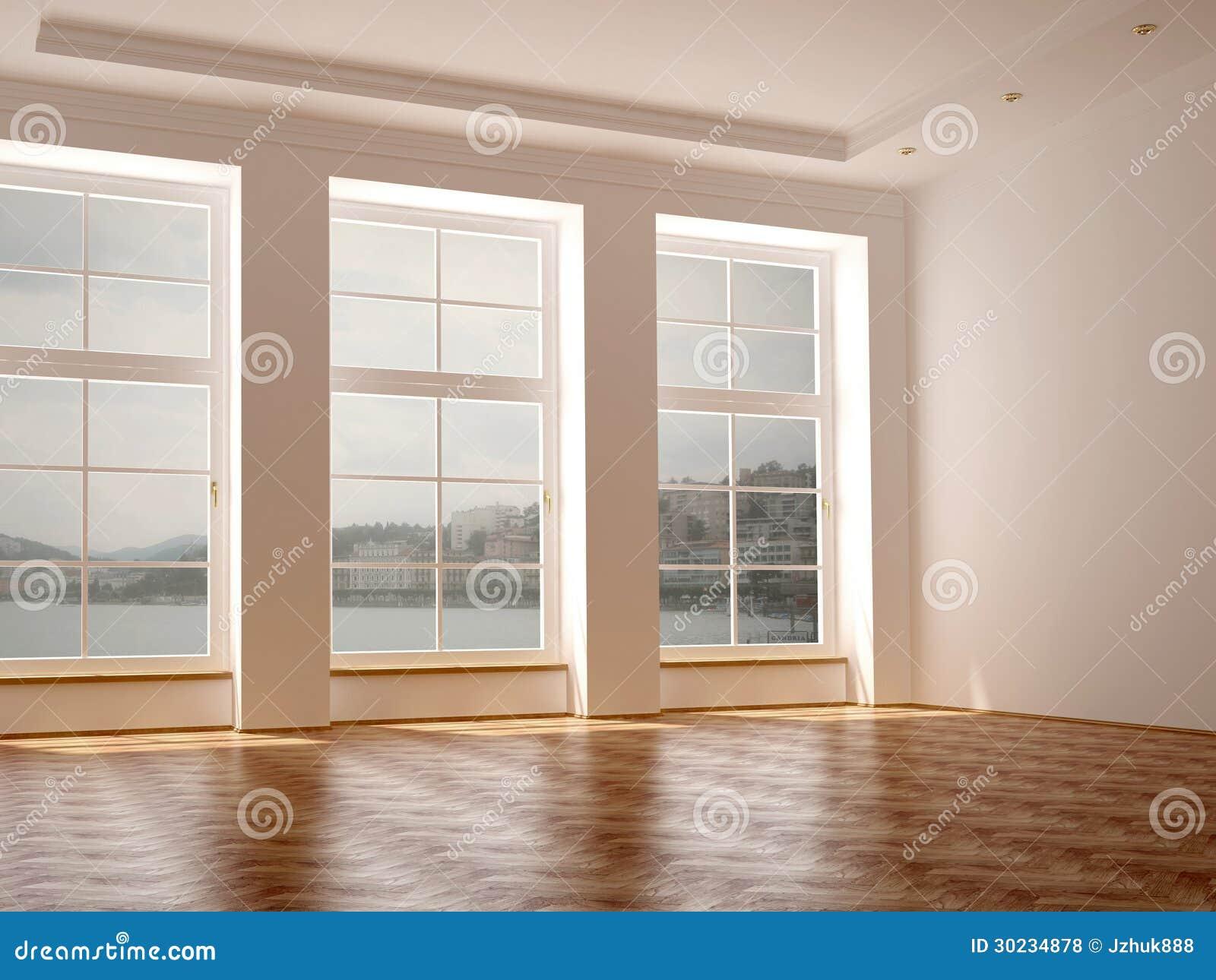 #82A229 Uma Sala Espaçoso Com As Três Grandes Janelas Fotos de Stock Royalty  1608 Vidros Para Janelas Grandes