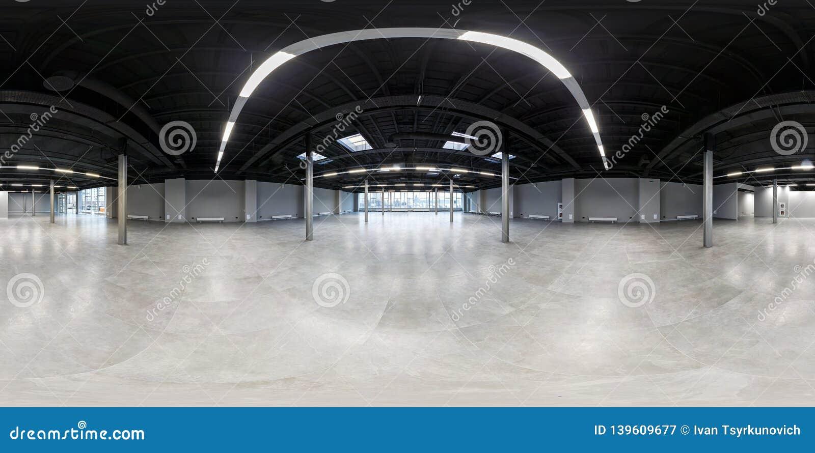Sala vazia sem reparo panorama esférico sem emenda completo do hdri 360 diplomas no interior da sala branca do sótão para o escri