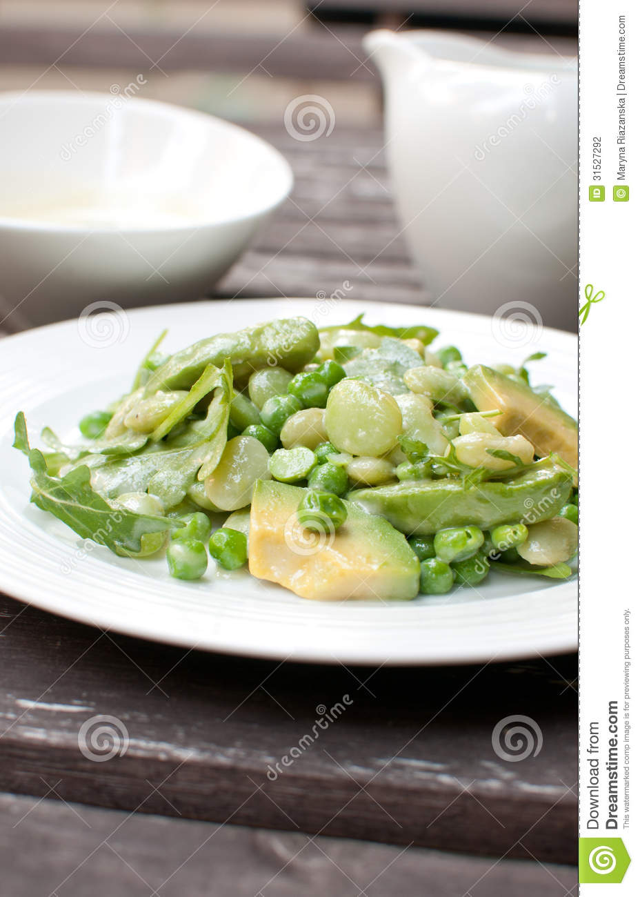 Salad With Avocado, Green Beans And Arugula Stock Photography - Image ...