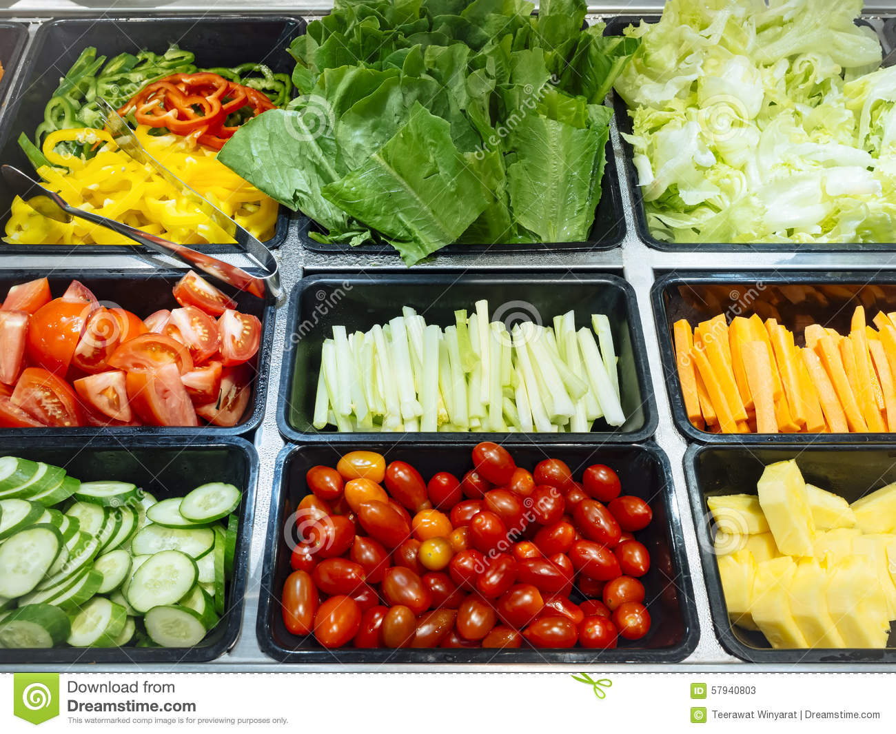 Salad Bar Fresh Vegetables Healthy Food Stock Photo ...