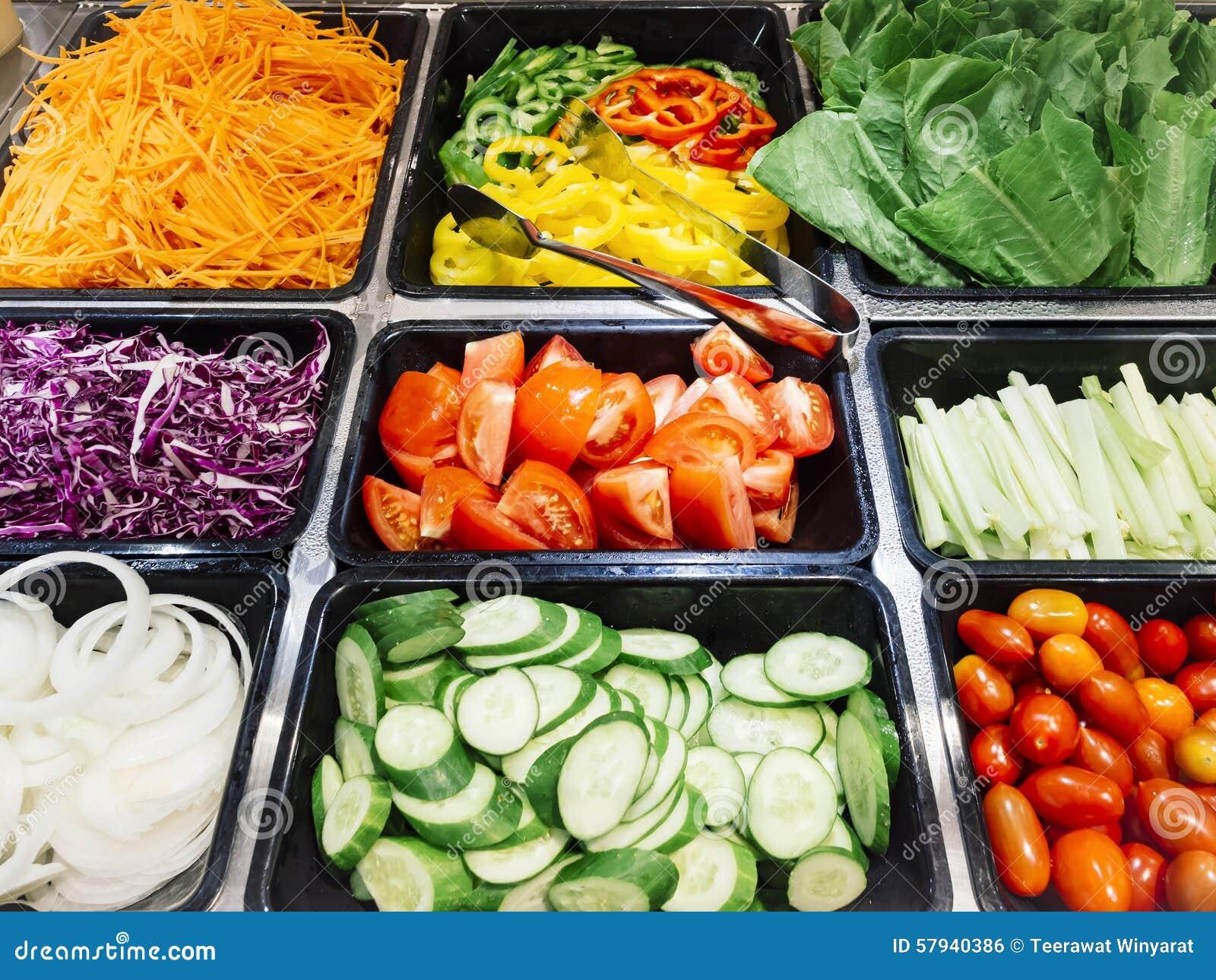 Salad Bar Fresh Vegetables Healthy Food Stock Photo