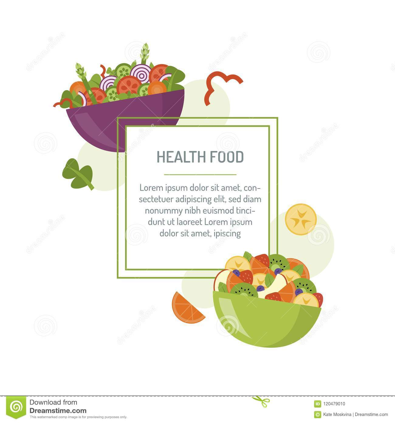 salad bar template bowl fresh vegetable fruit salads healthy food your design text area flat style banner vector 120479010 salad bar template stock vector illustration of fruit 120479010