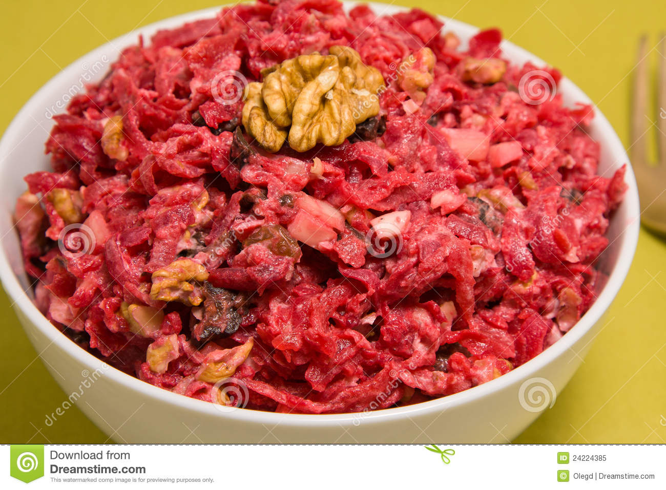 Royalty Free Stock Photo: Salad with beets, dried plums, nuts