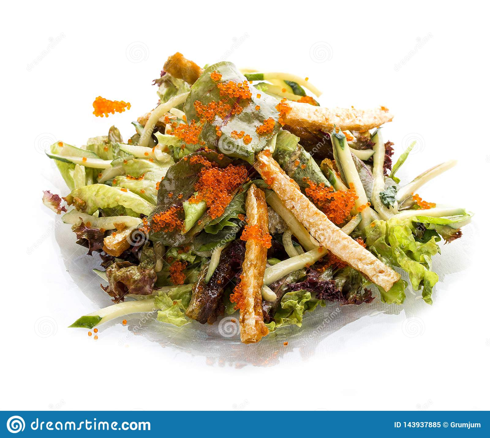 Salad With Belly Of Salmon And Flying Fish Roe Asian Lunch Stock Image Image Of Seafood Rice 143937885