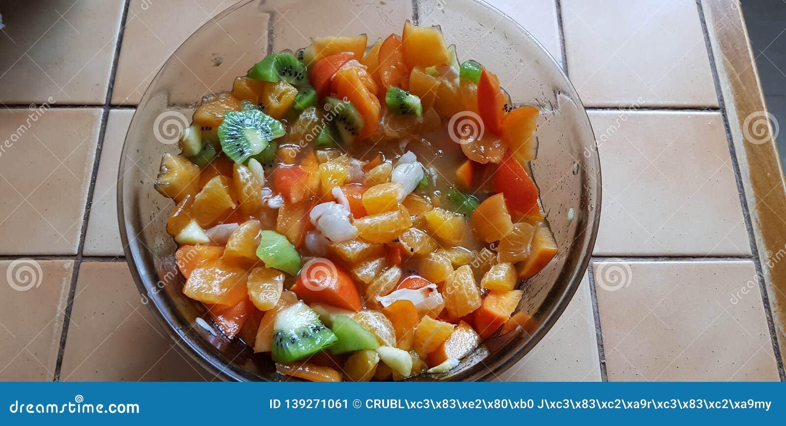 Salad Bowl Of Fresh Fruit Salad Stock Image Image Of Lychee Bowl 139271061