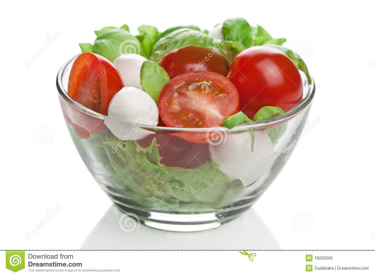 Salad in bowl isolated